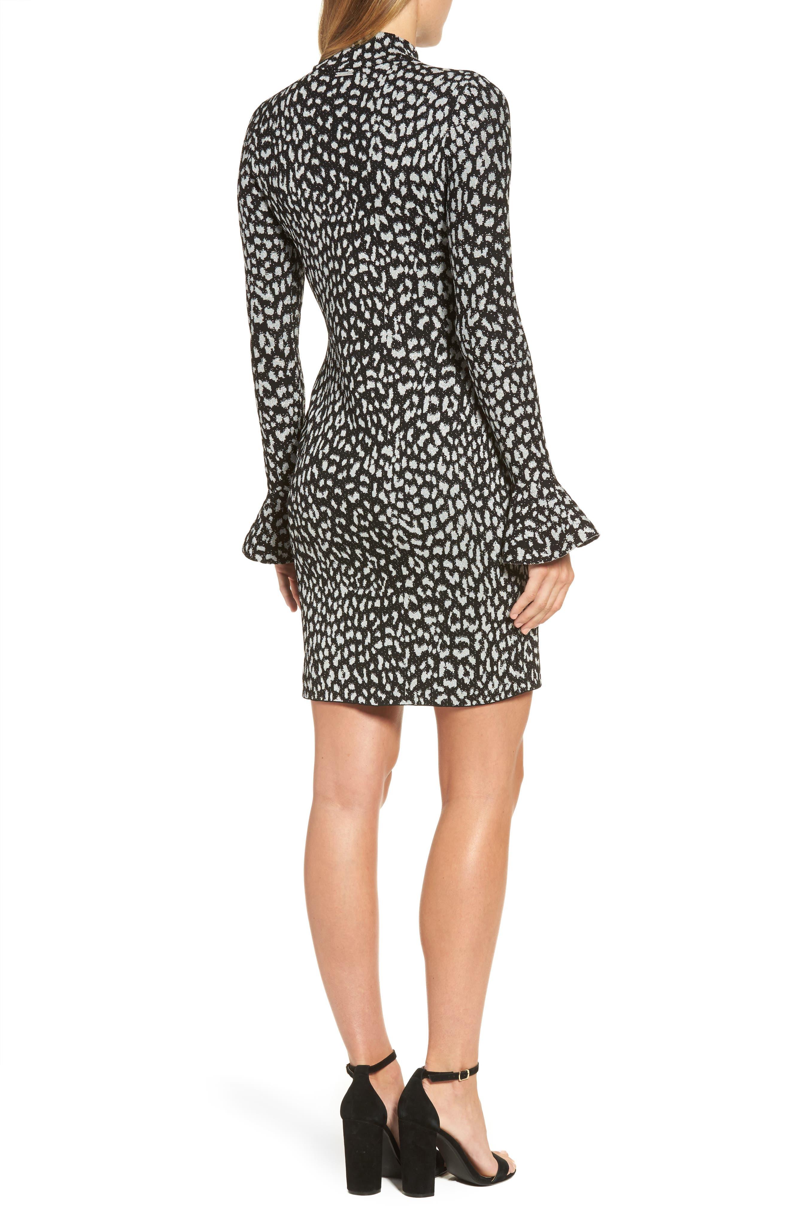 Metallic Cheetah Sheath Dress,                             Alternate thumbnail 2, color,                             Black