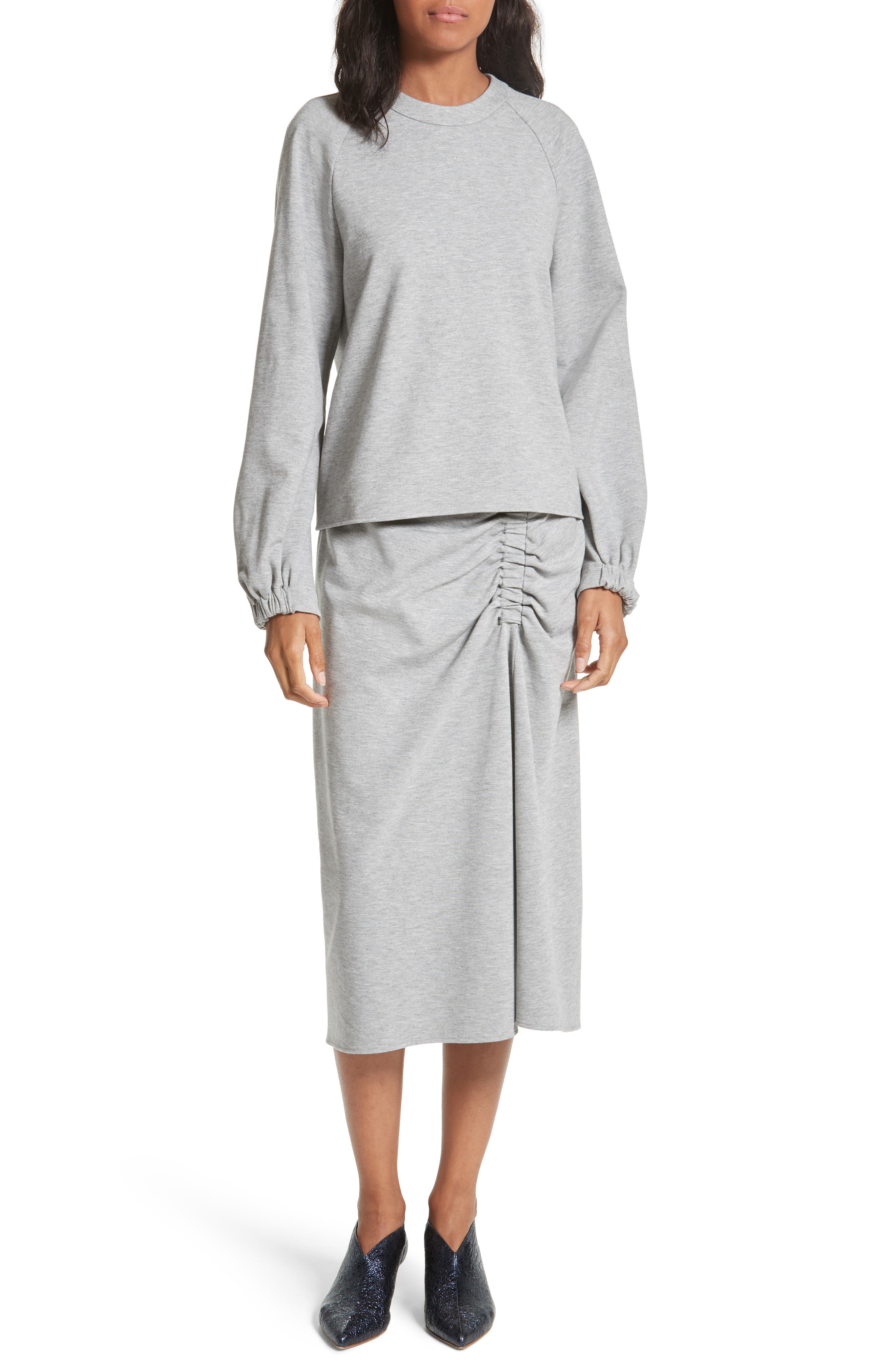 Ruched Midi Skirt,                             Alternate thumbnail 7, color,                             Heather Grey