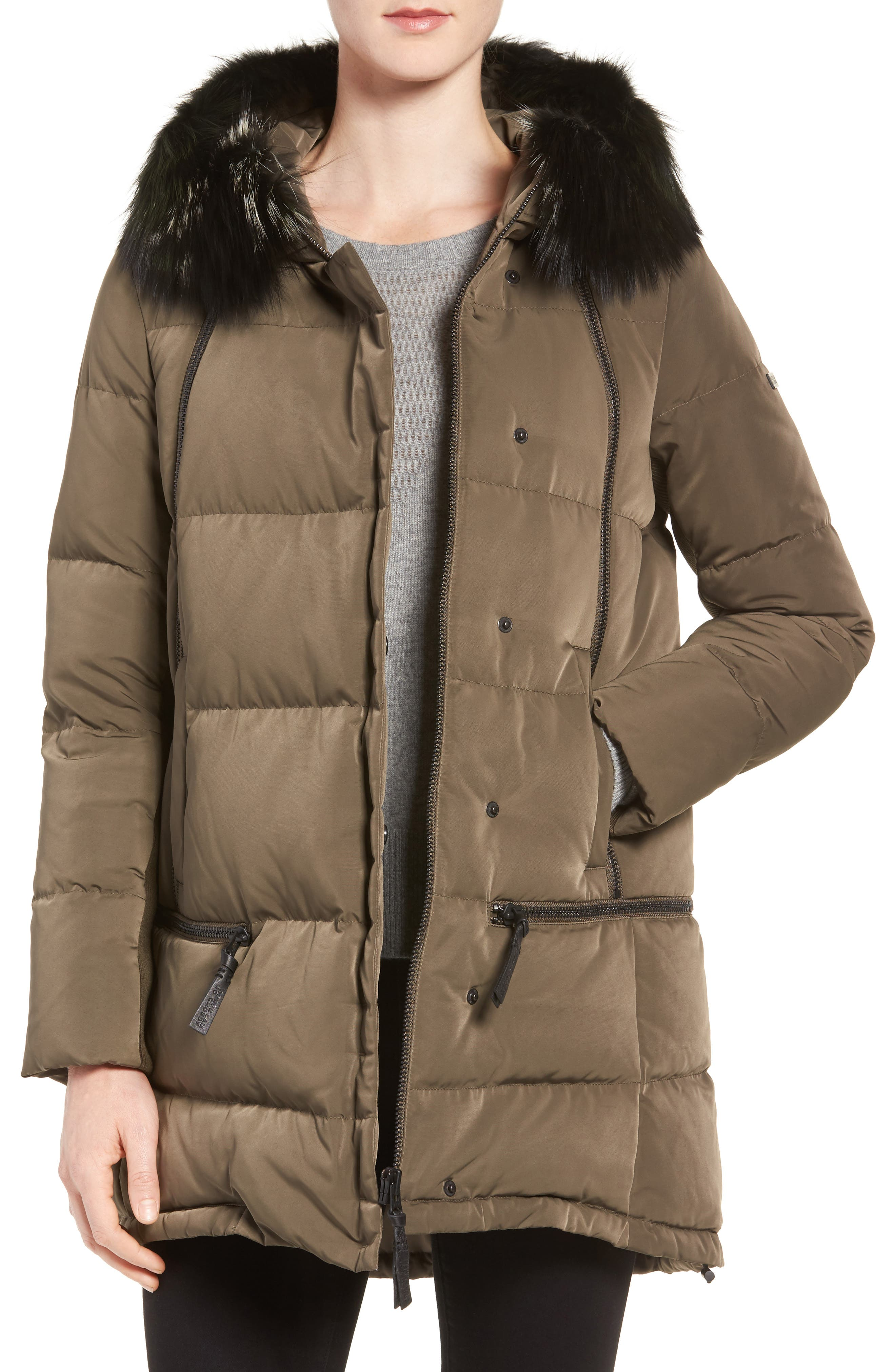 Relaxed Water Resistant Down Parka with Genuine Fox Fur Trim,                             Main thumbnail 1, color,                             Loden