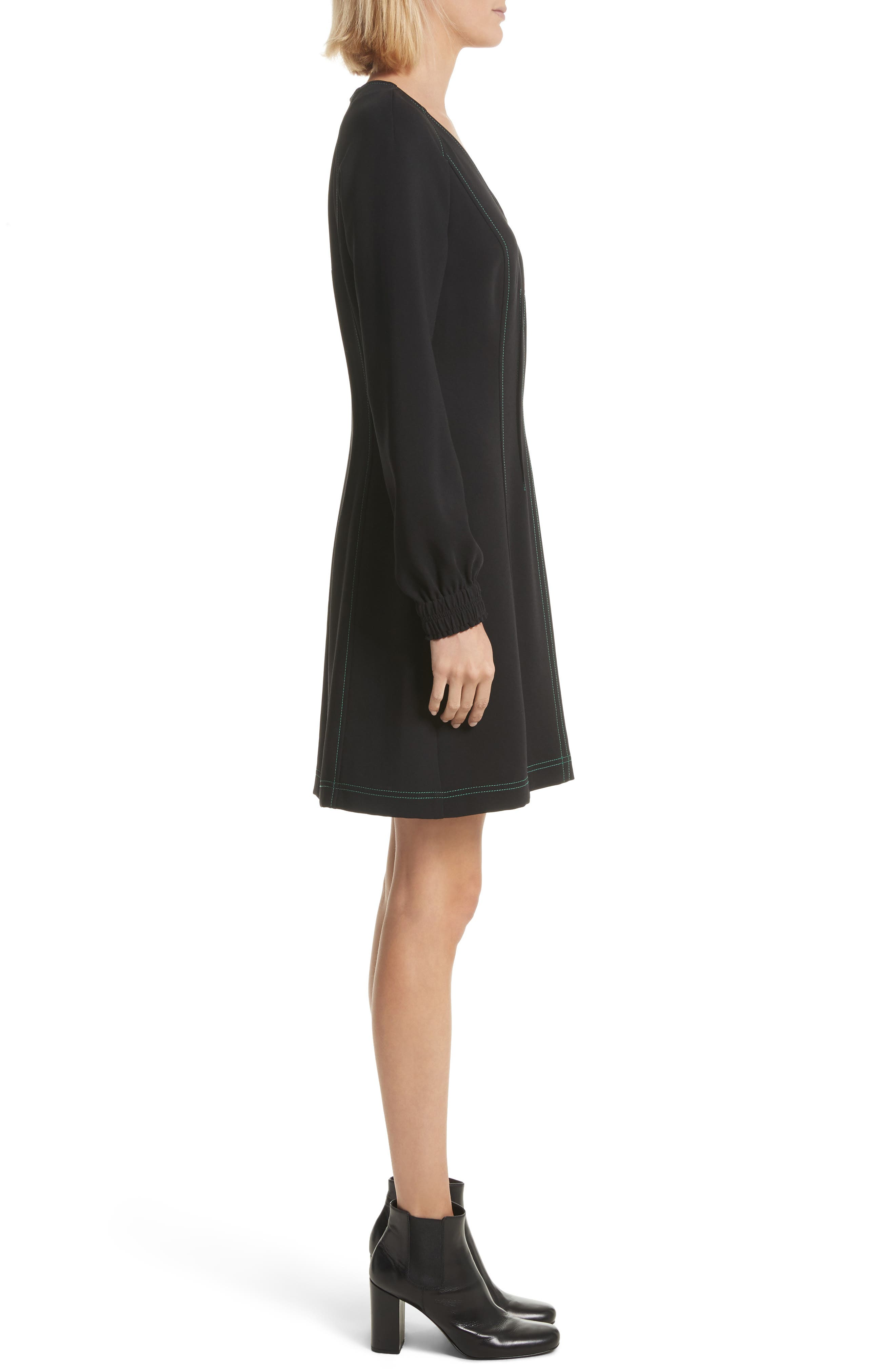 Contrast Stitch Dress,                             Alternate thumbnail 3, color,                             Black