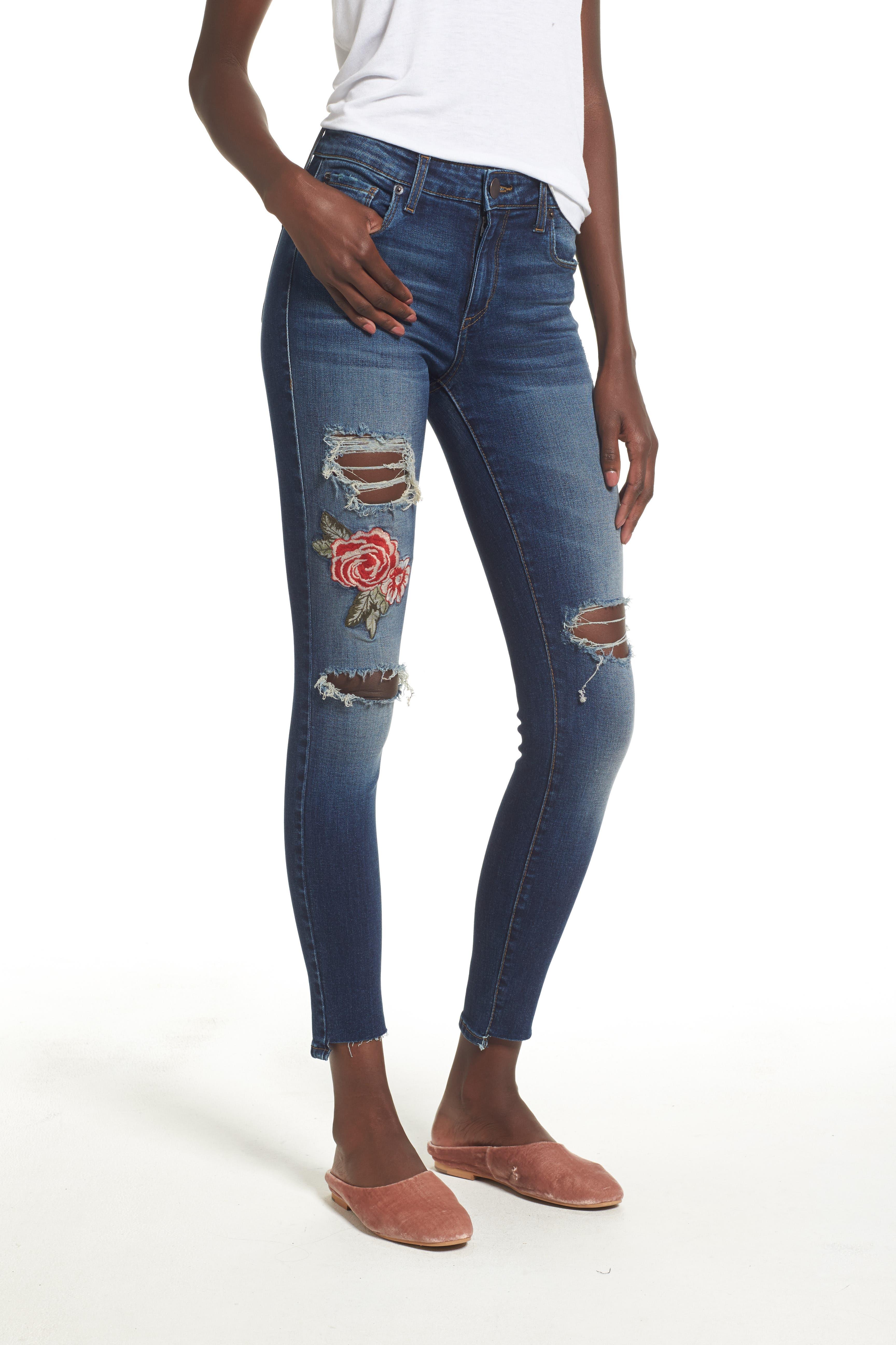 Emma Rose Embroidered Step Hem Jeans,                         Main,                         color, Big Rock