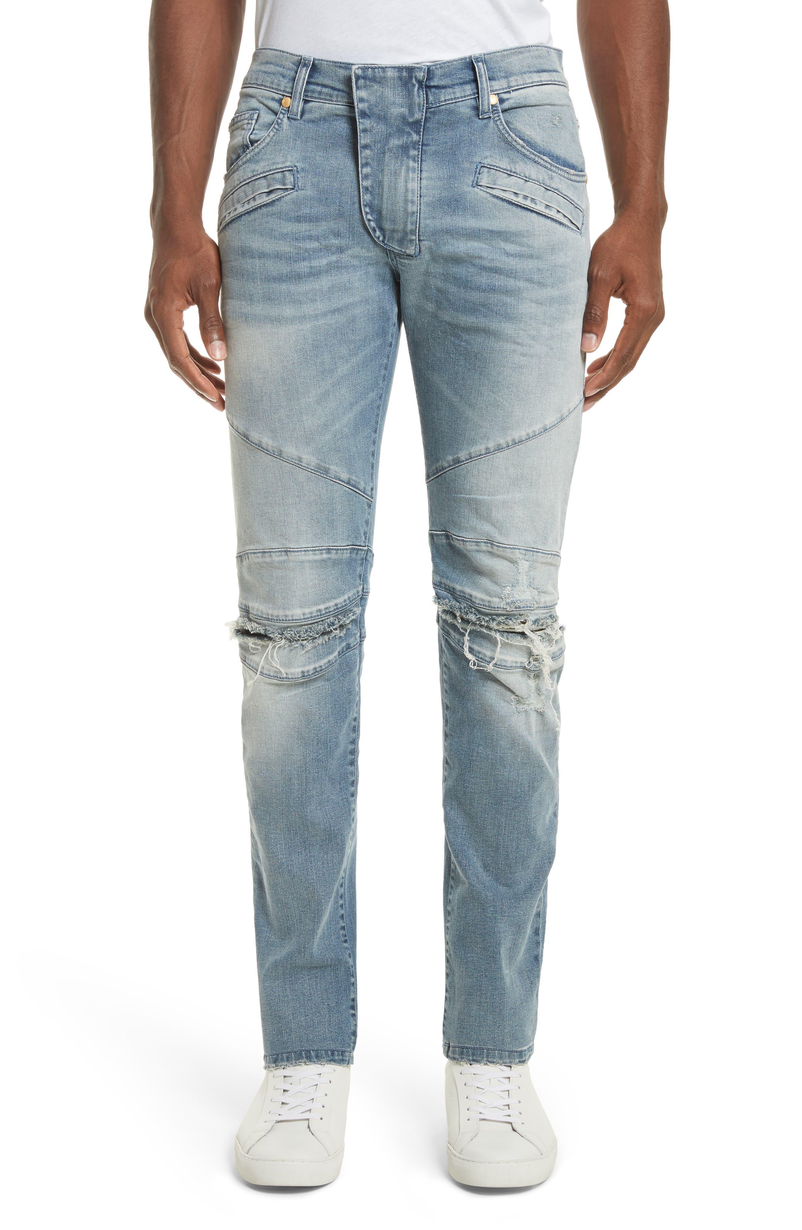 Main Image - Pierre Balmain Slit Knee Jeans (Blue Denim)