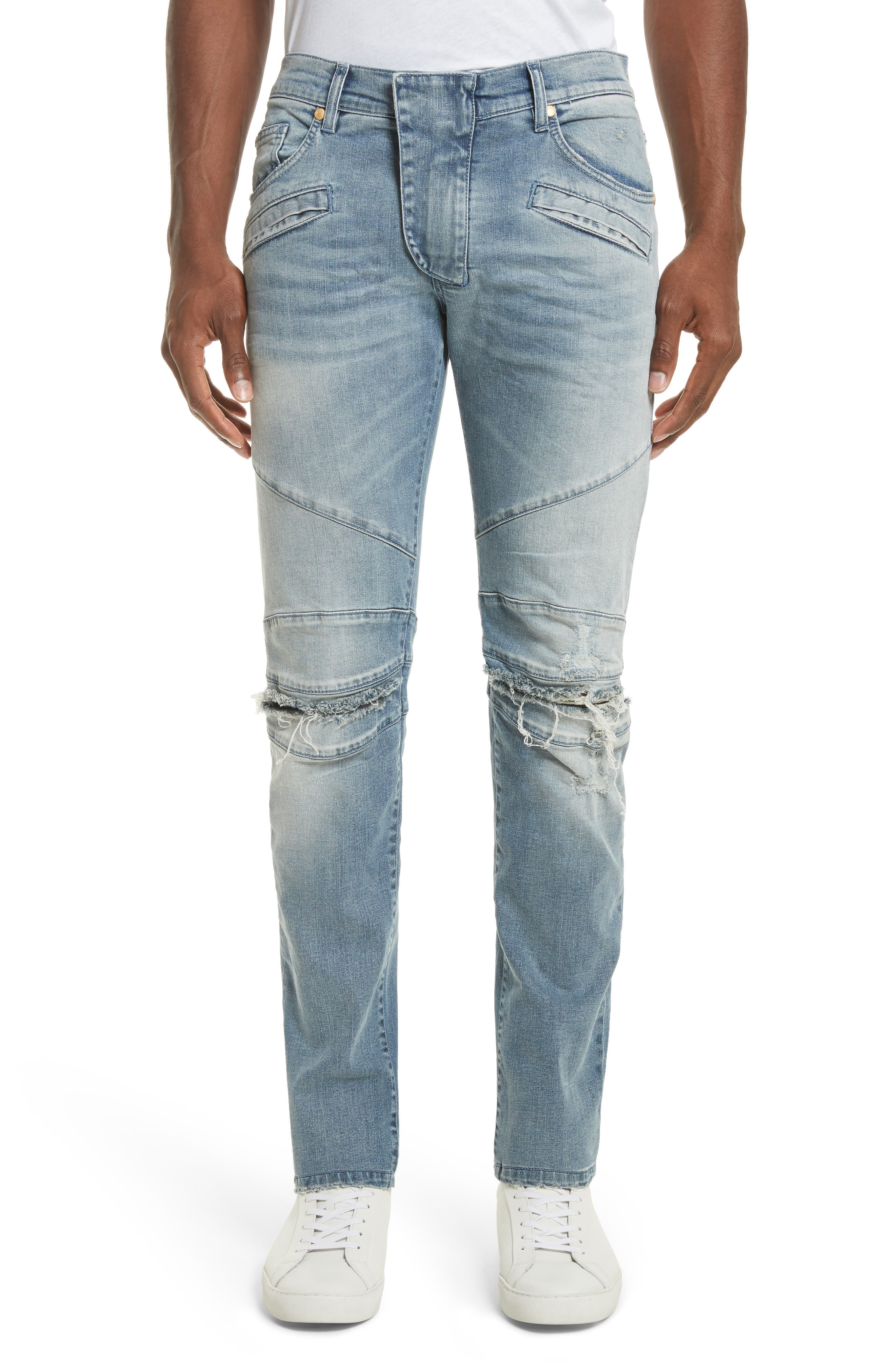 Pierre Balmain Slit Knee Jeans (Blue Denim)