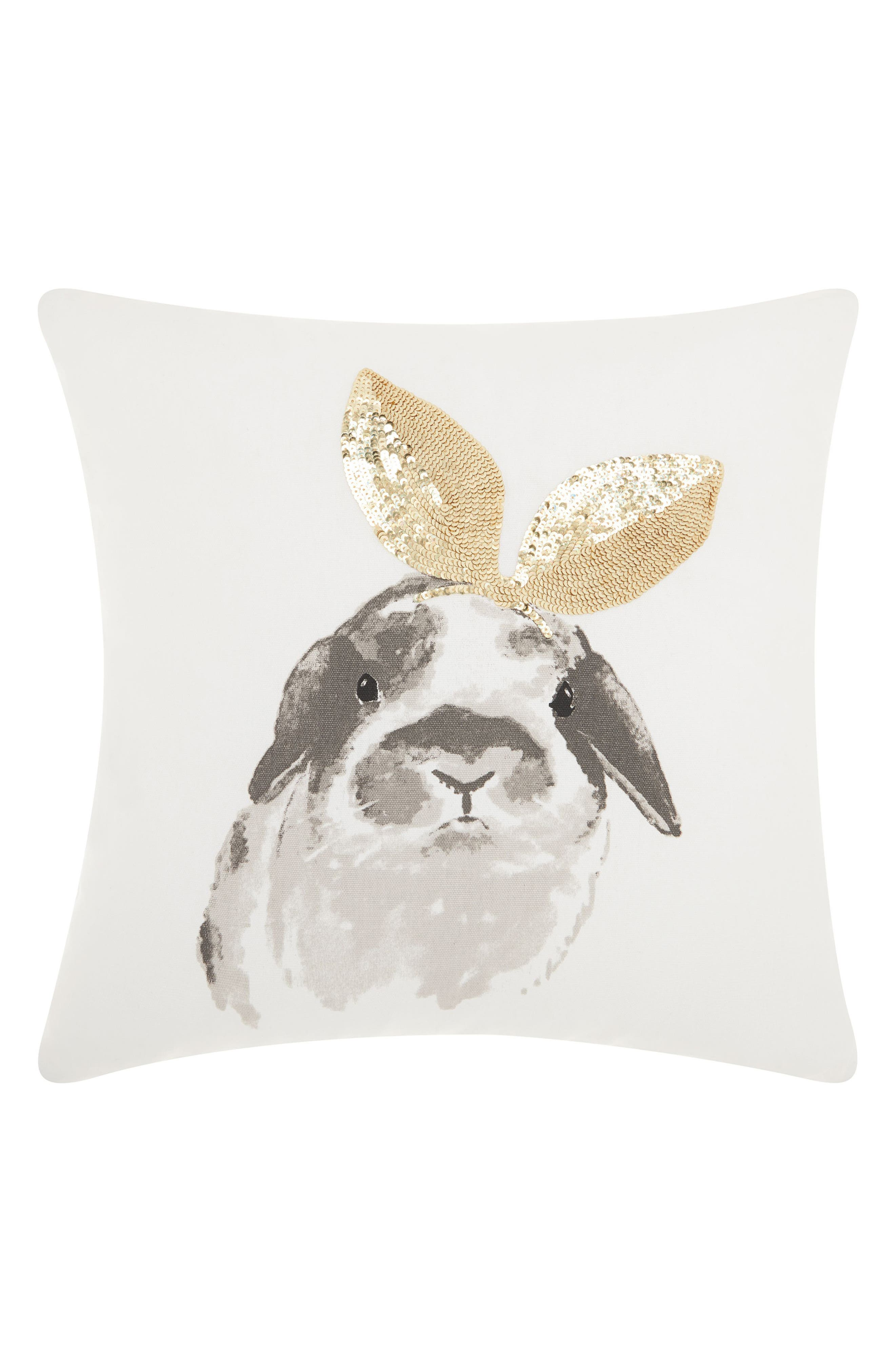 Sequin Bunny Ears Accent Pillow,                             Main thumbnail 1, color,                             White