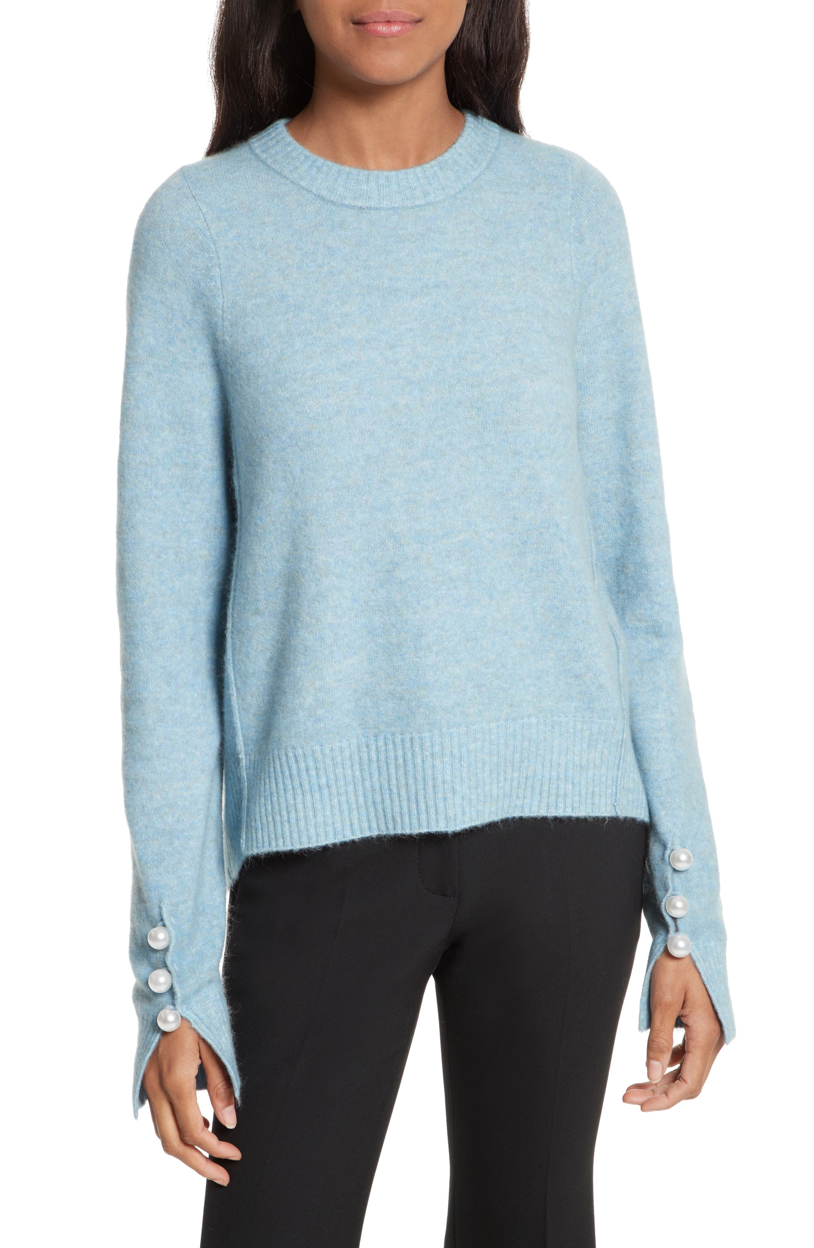 3.1 PHILLIP LIM Faux Pearl Cuff Knit Pullover