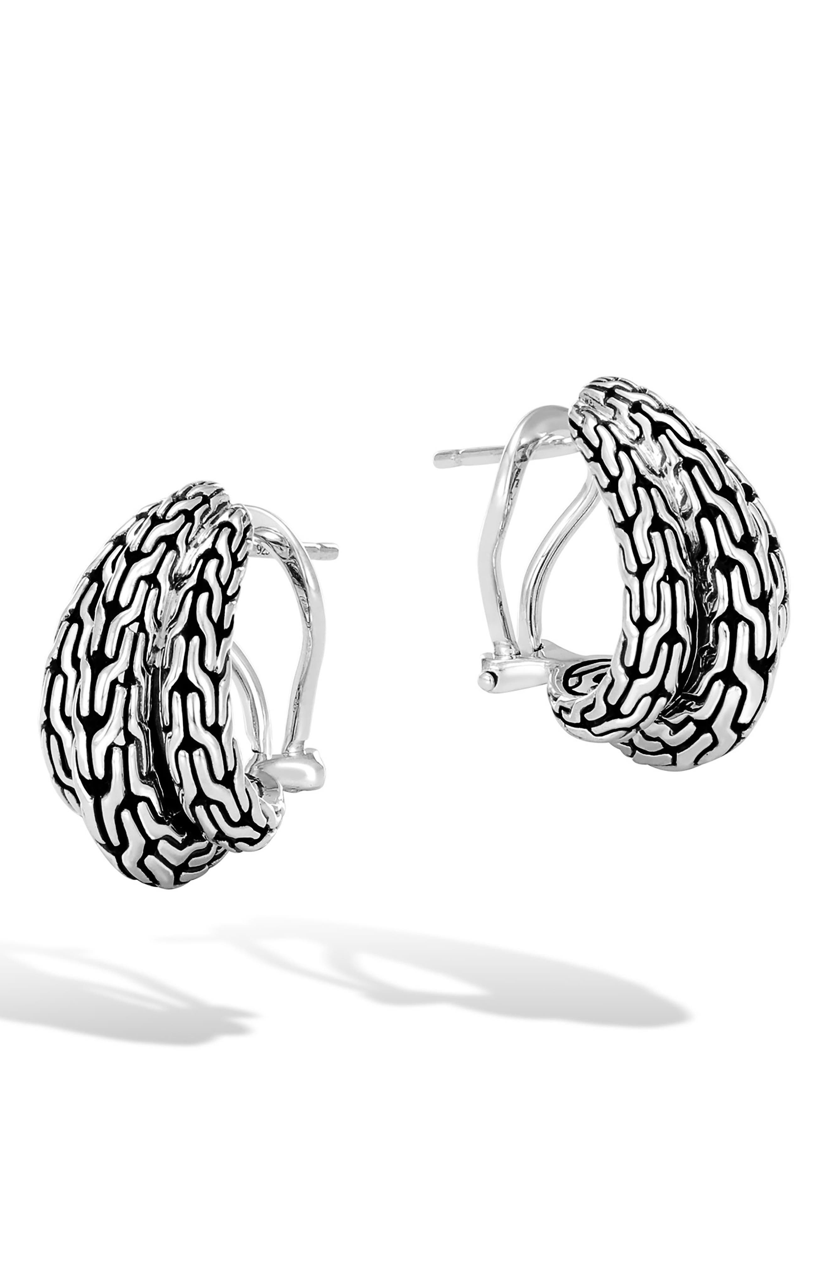 Classic Chain Buddha Belly Earrings,                             Main thumbnail 1, color,                             Silver