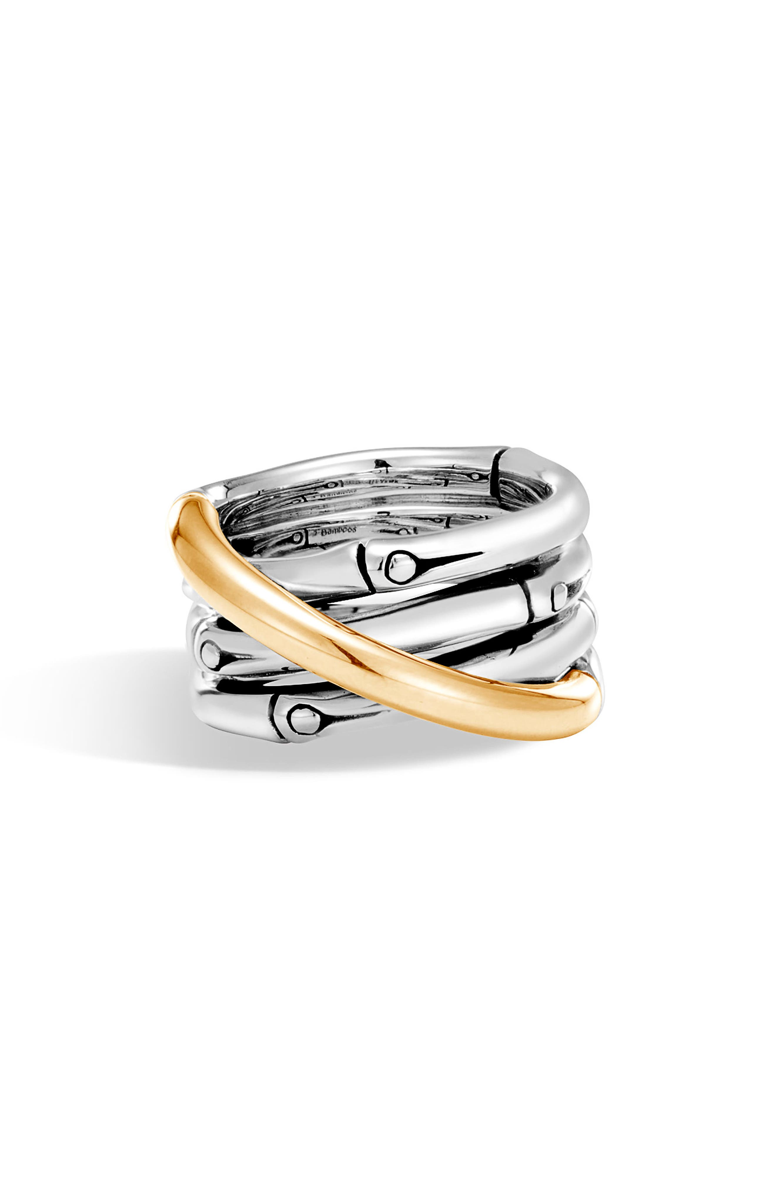 Bamboo Ring,                         Main,                         color, Silver/ Gold