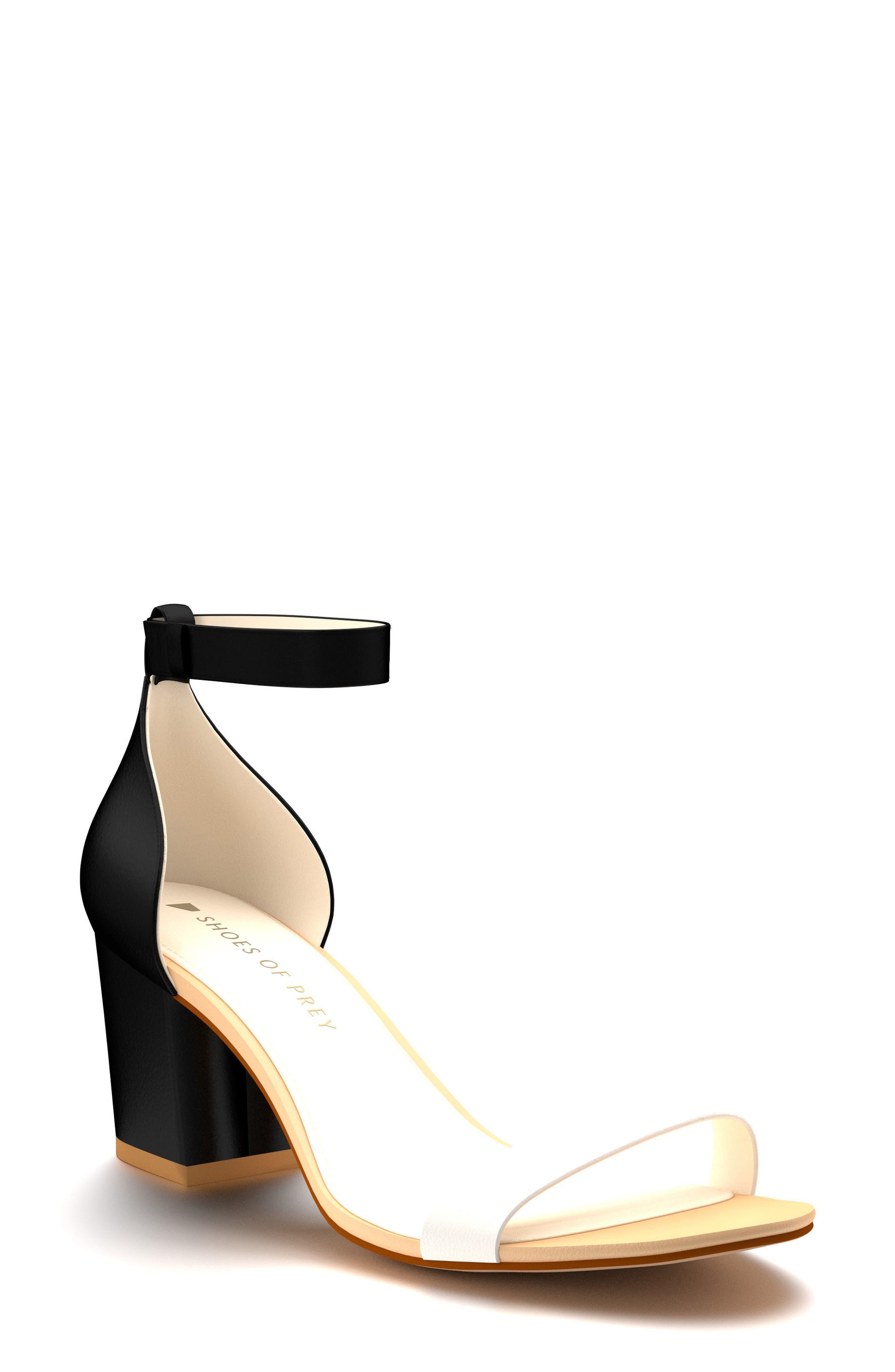 Ankle Strap Block Heel Sandal,                             Main thumbnail 1, color,                             Black Leather