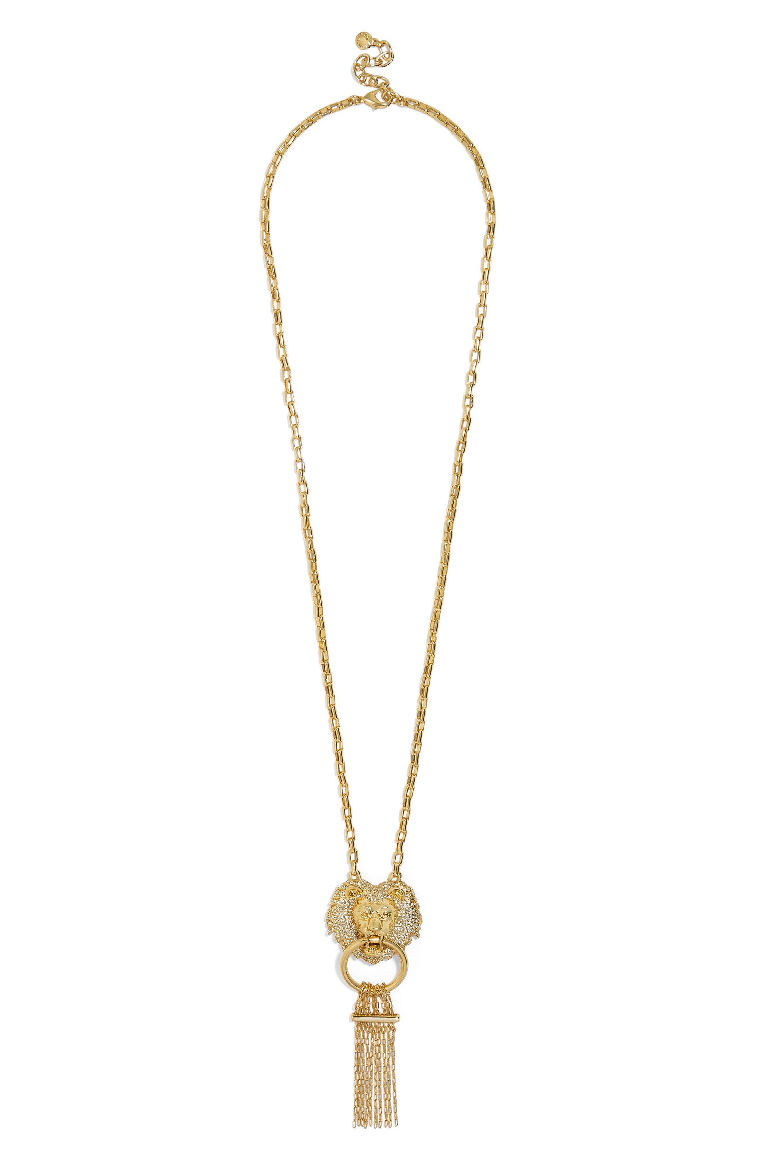 BaubleBar Panthera Fringe Pendant Necklace