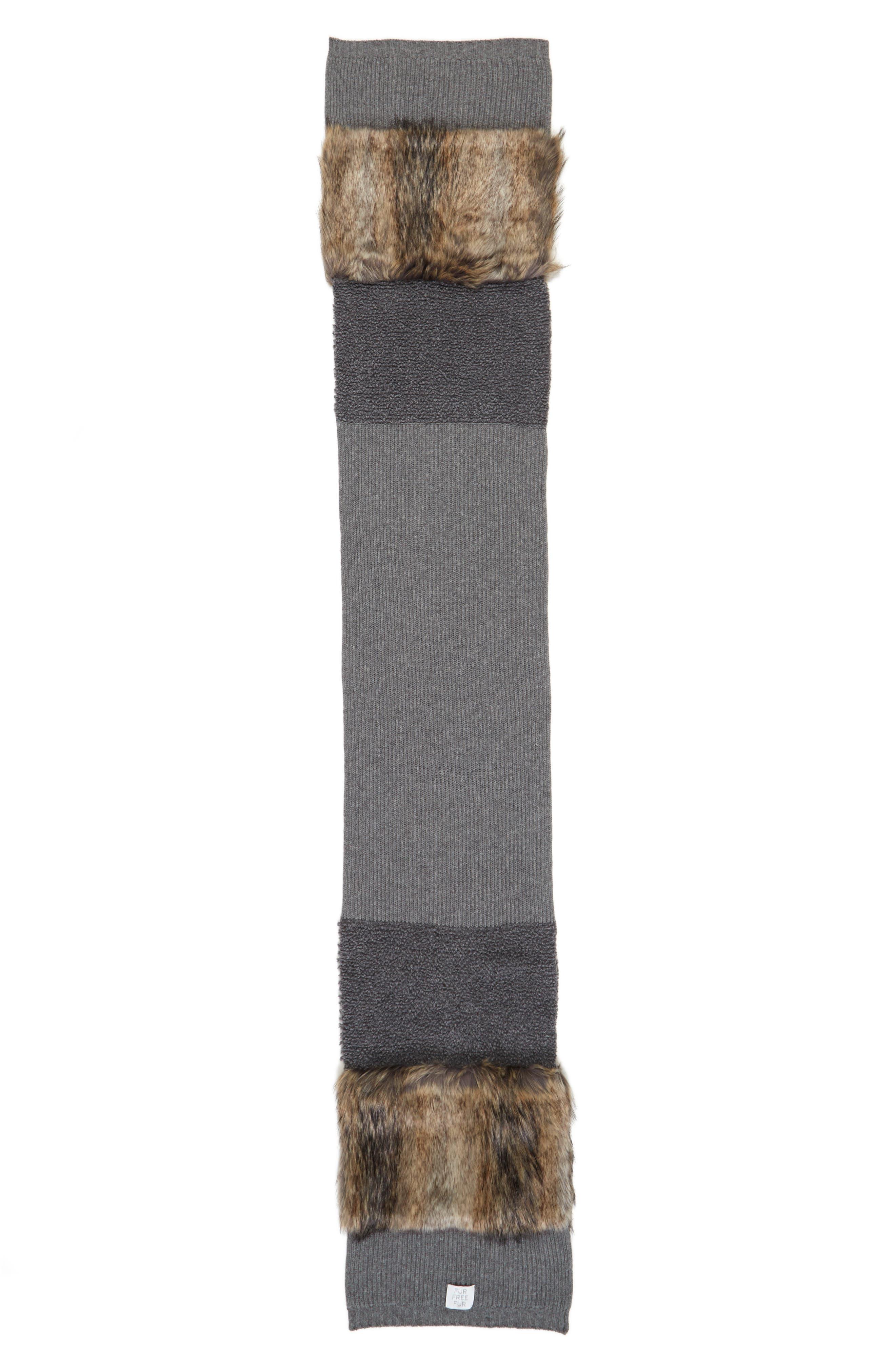 Alternate Image 2  - Stella McCartney Wool Scarf with Faux Fur Panels