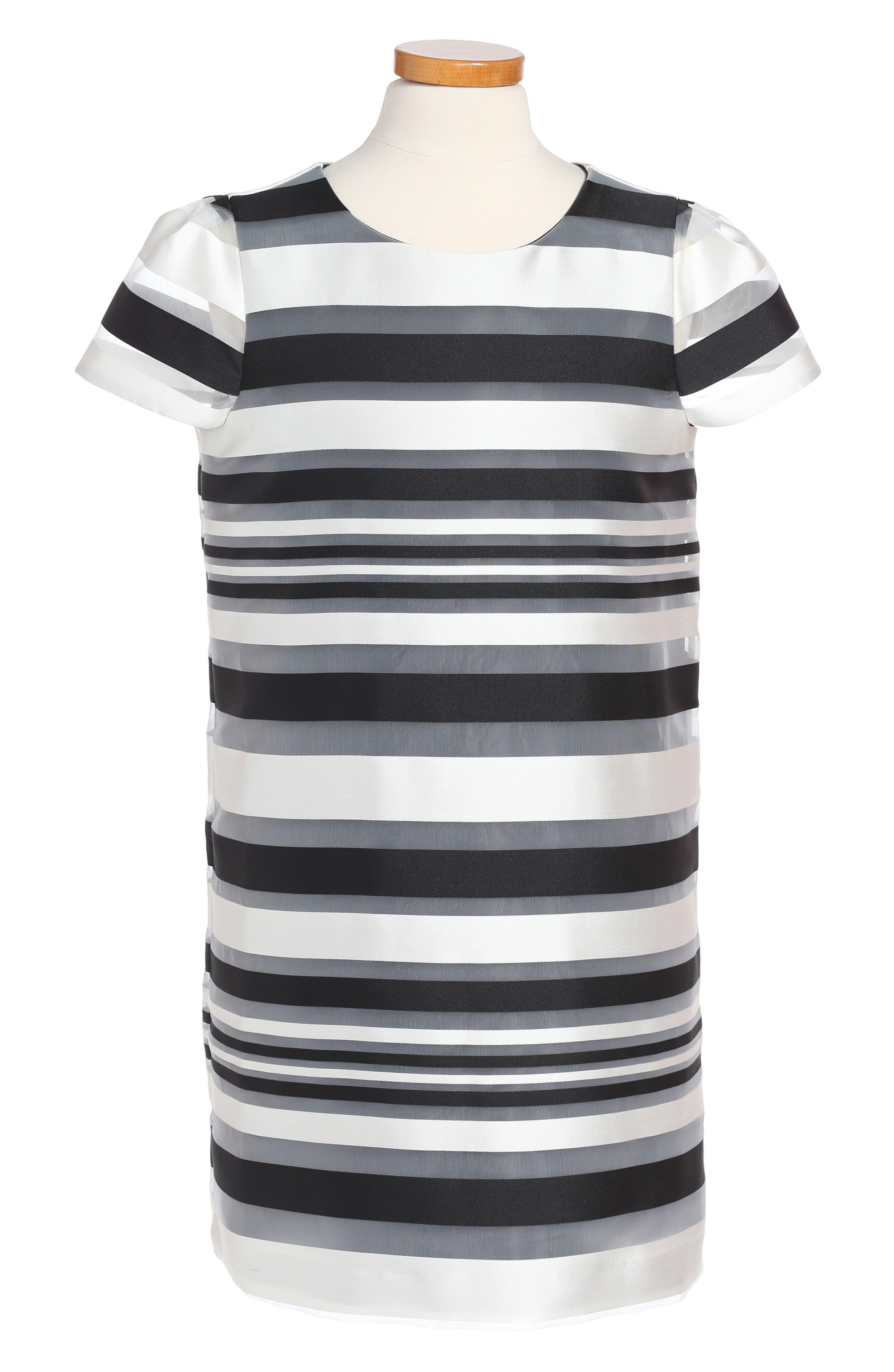 Chloe Illusion Stripe Shift Dress,                             Main thumbnail 1, color,                             White/ Black