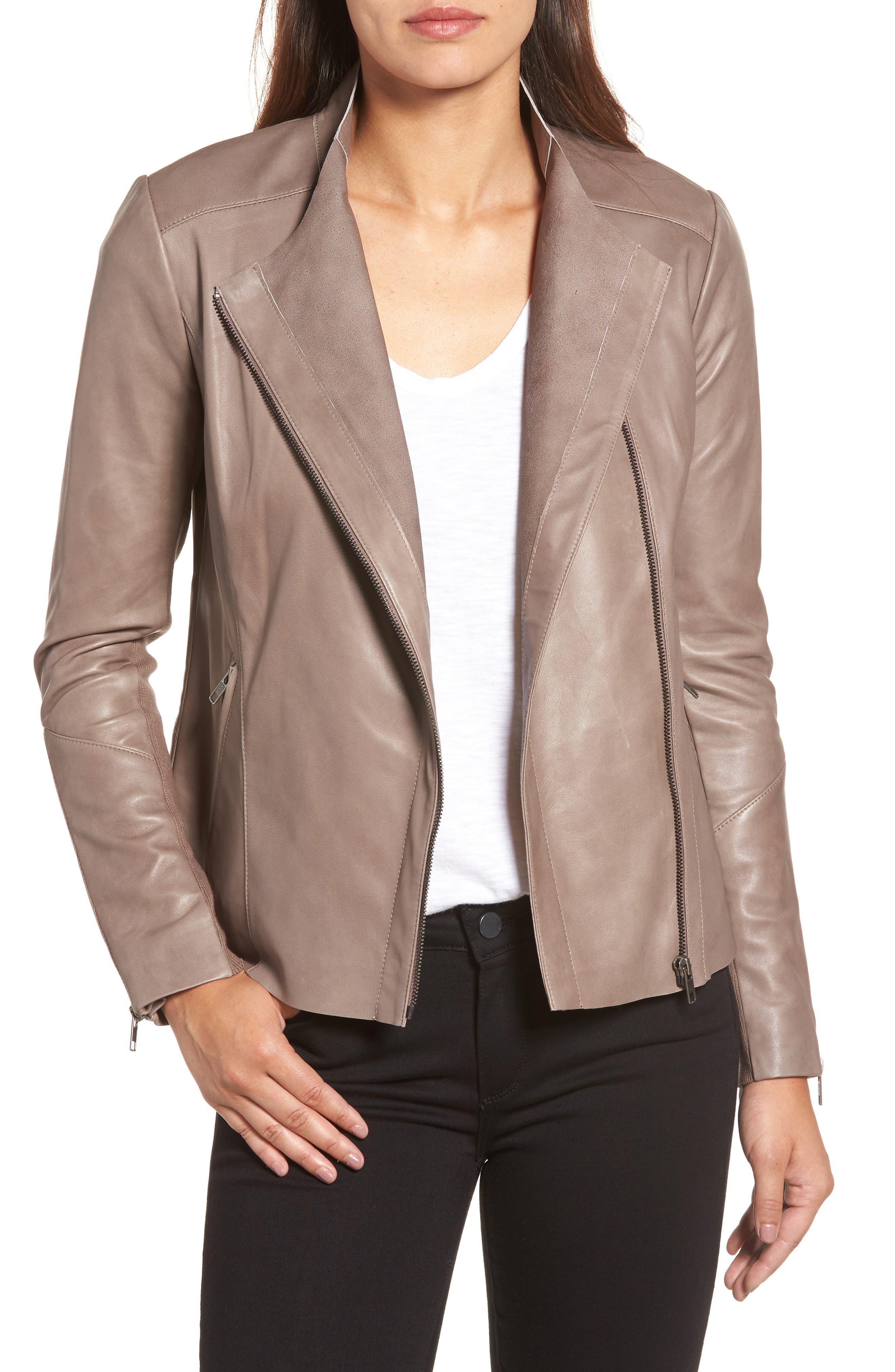 Asymmetrical Leather Jacket,                         Main,                         color, Taupe Dusk