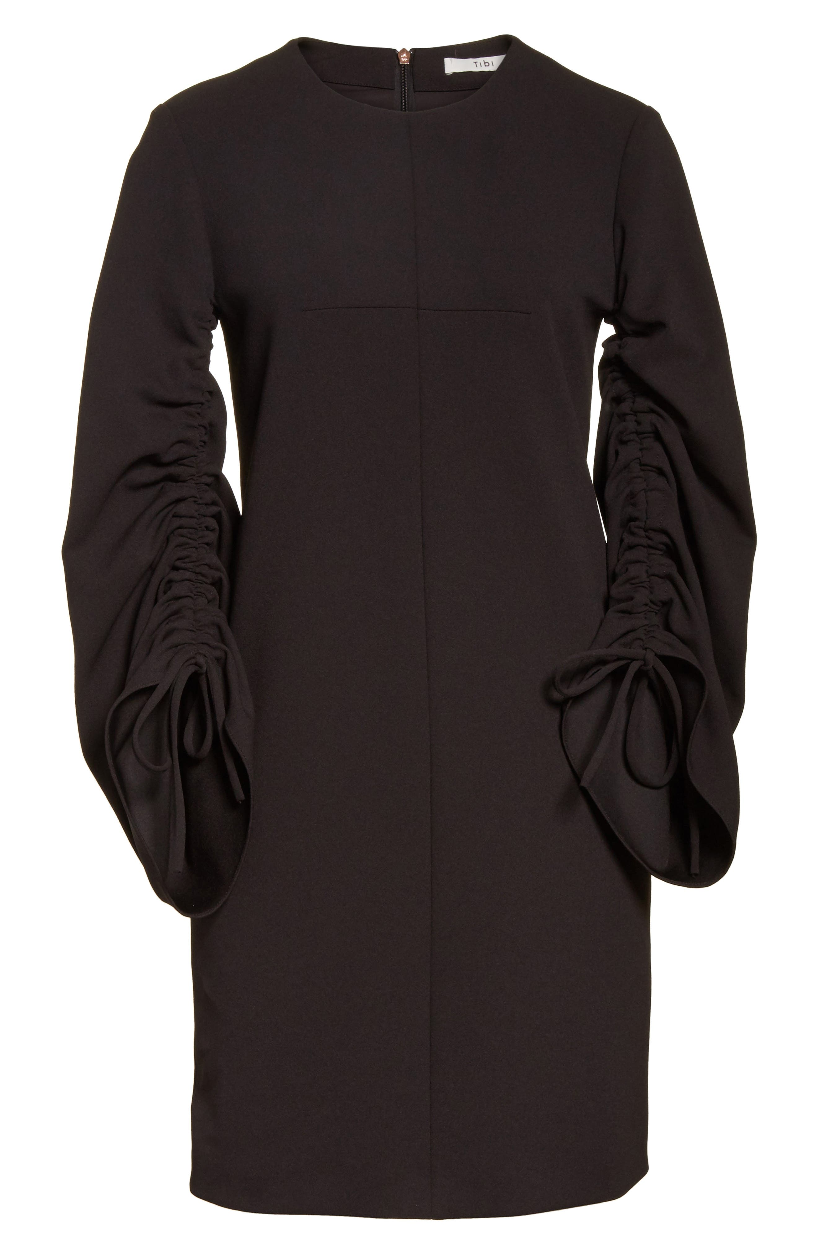 Crepe Ruched Sleeve Shift Dress,                             Alternate thumbnail 6, color,                             Black