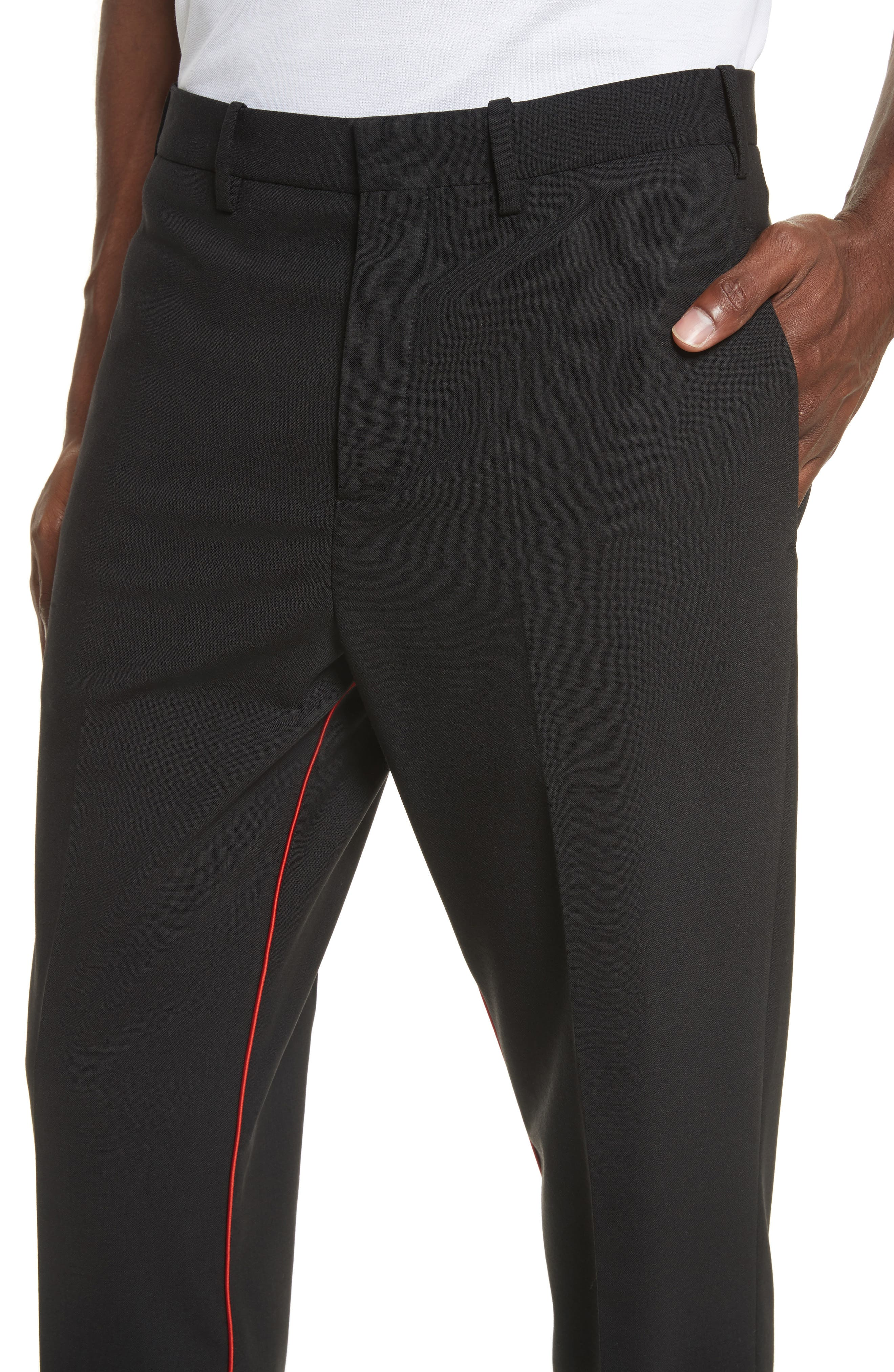 Piped Woven Jogger Pants,                             Alternate thumbnail 4, color,                             Black/ Red