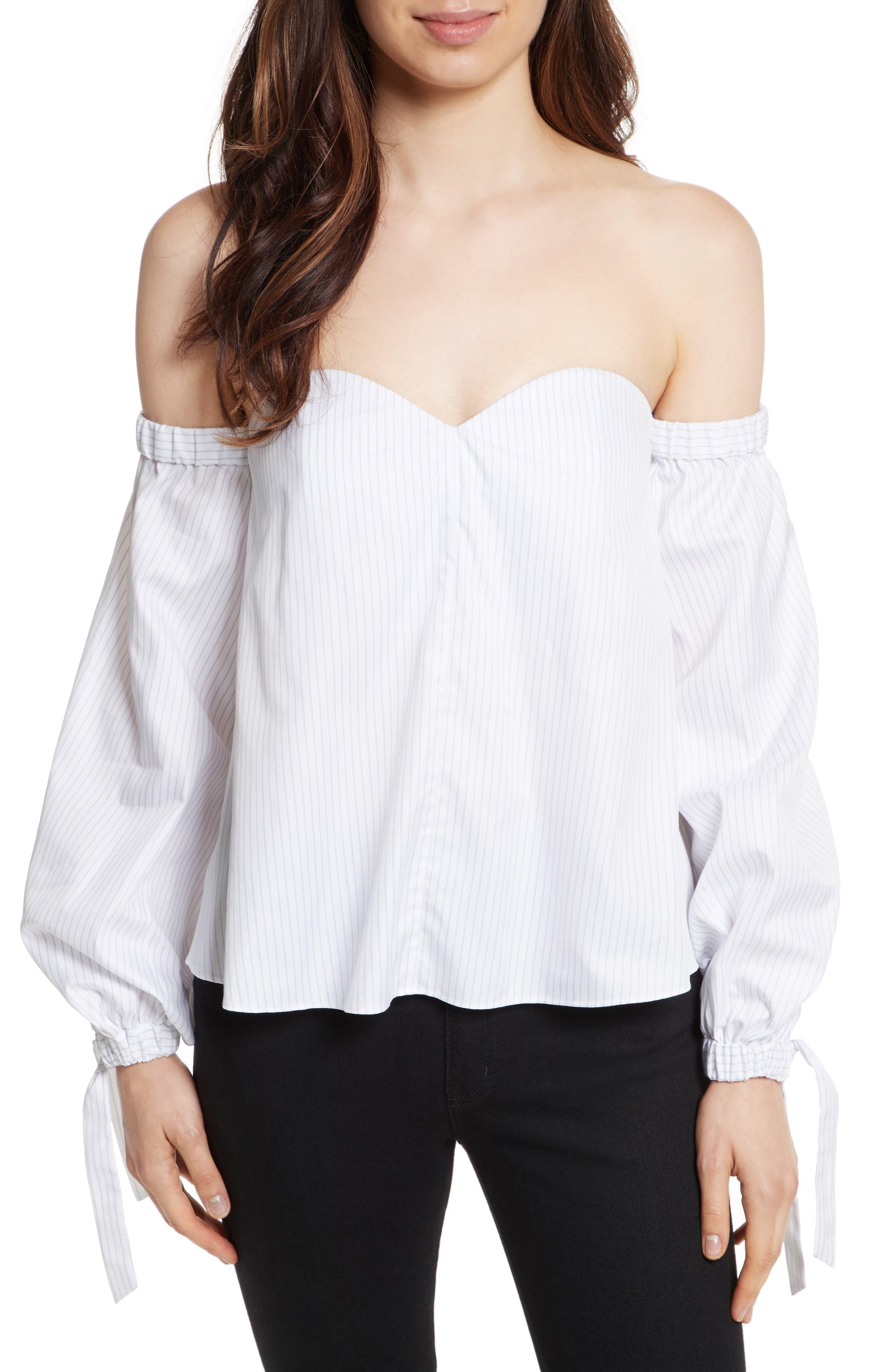 Janey Shirting Stripe Top,                         Main,                         color, Grey Stripe