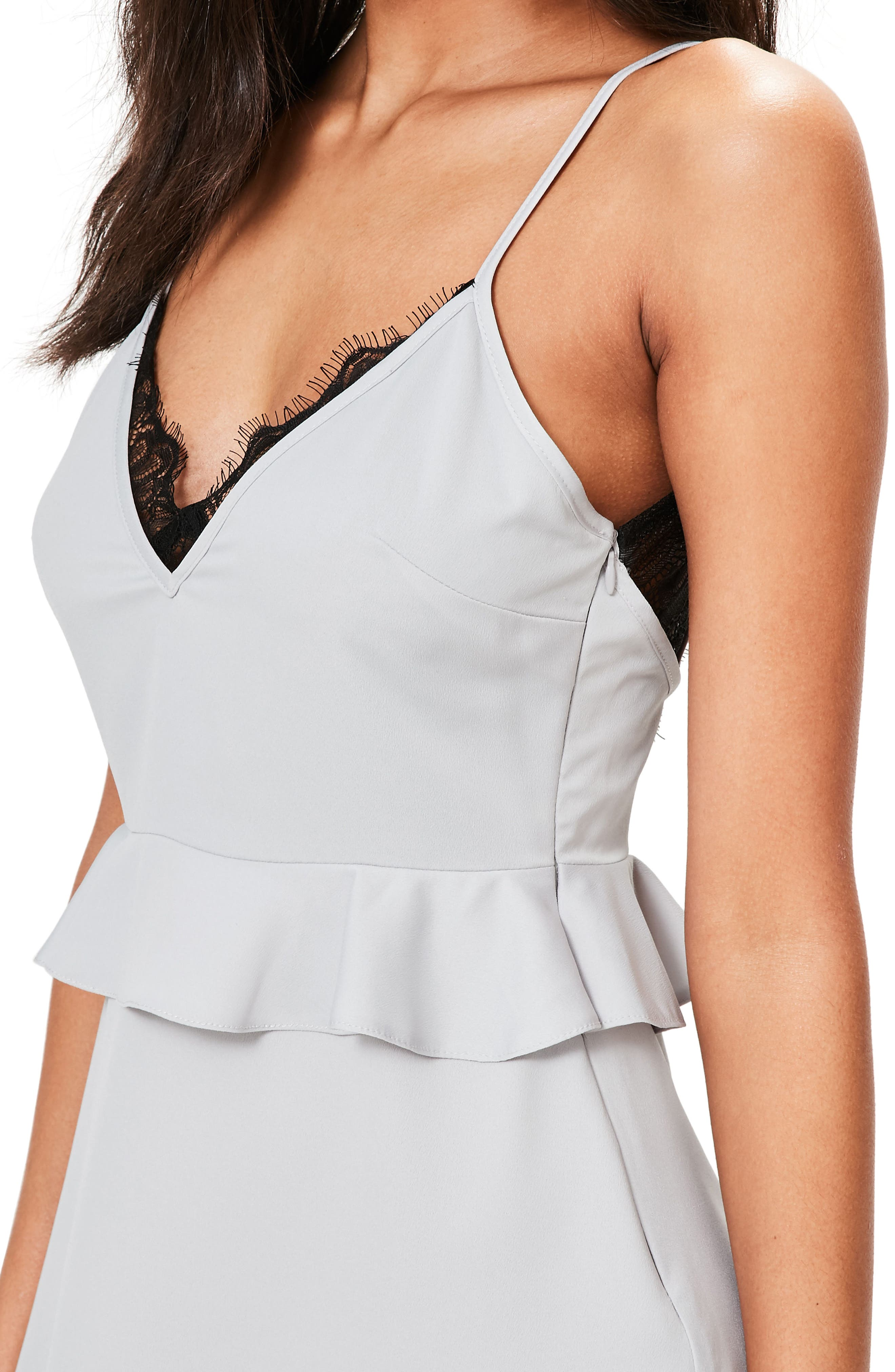 Alternate Image 3  - Missguided Lace Trim Peplum Minidress