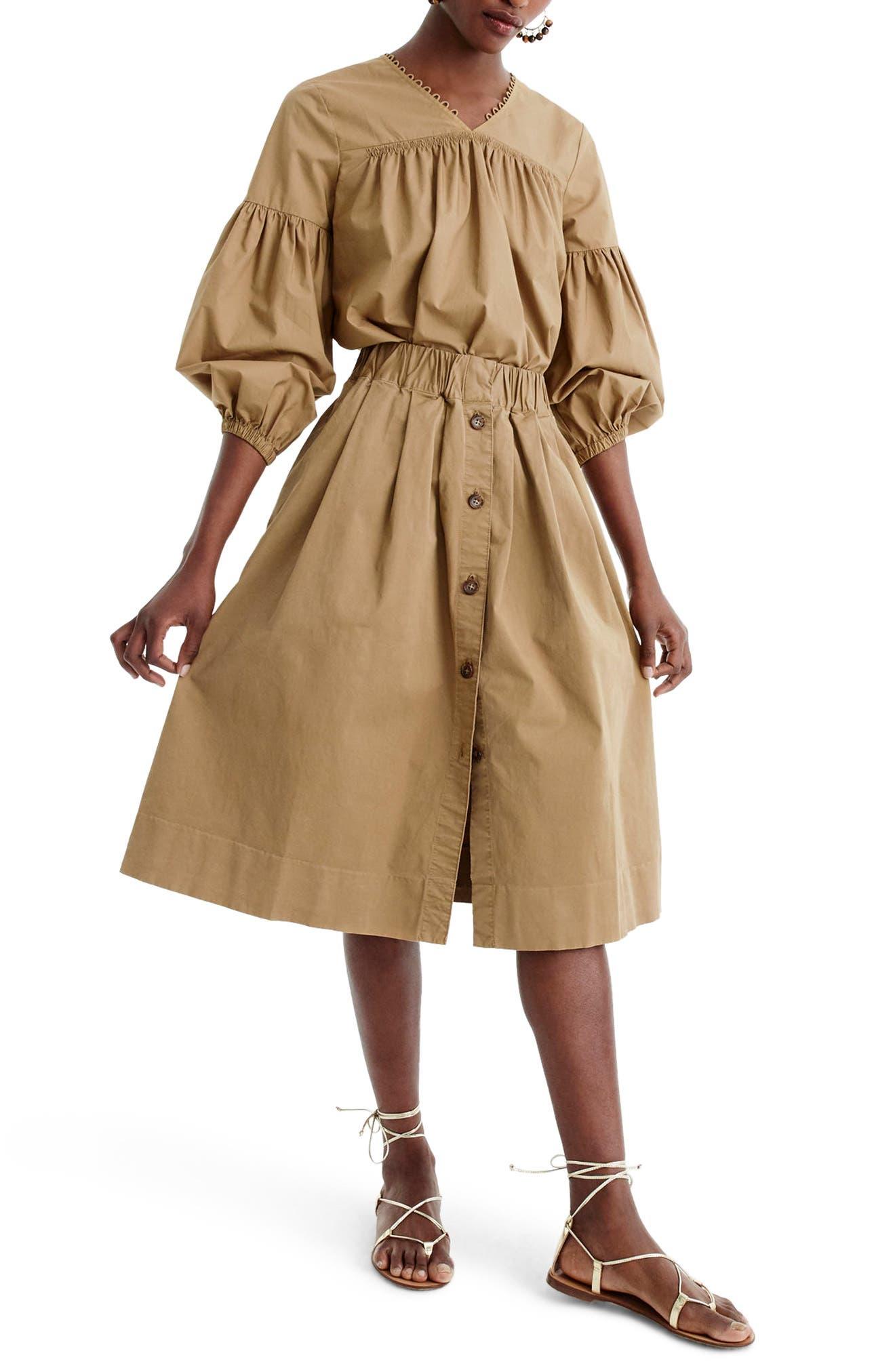 Main Image - J.Crew Button Front Chino Skirt (Regular & Petite)