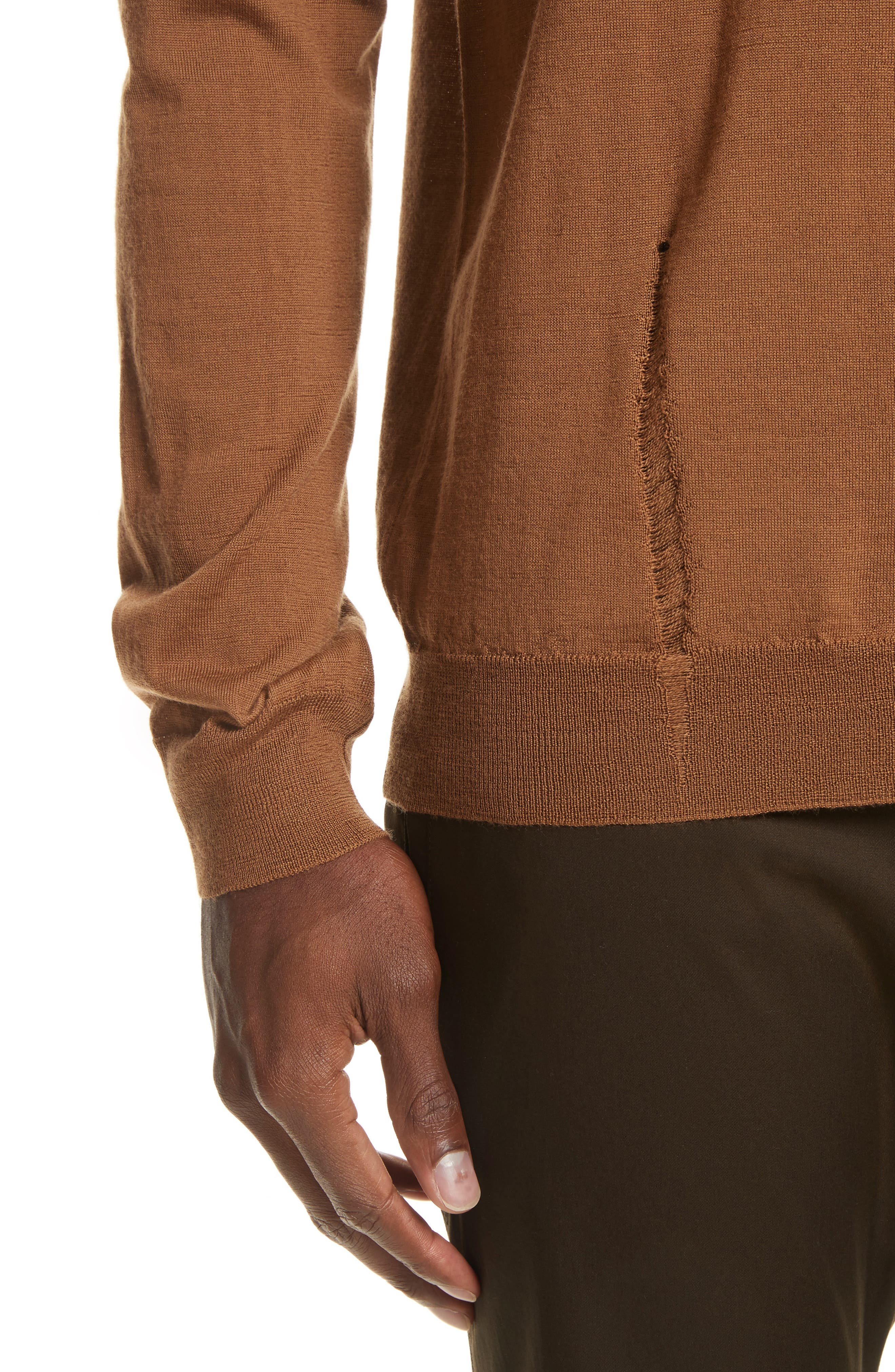 Open Stitch Wool Sweater,                             Alternate thumbnail 4, color,                             Camel