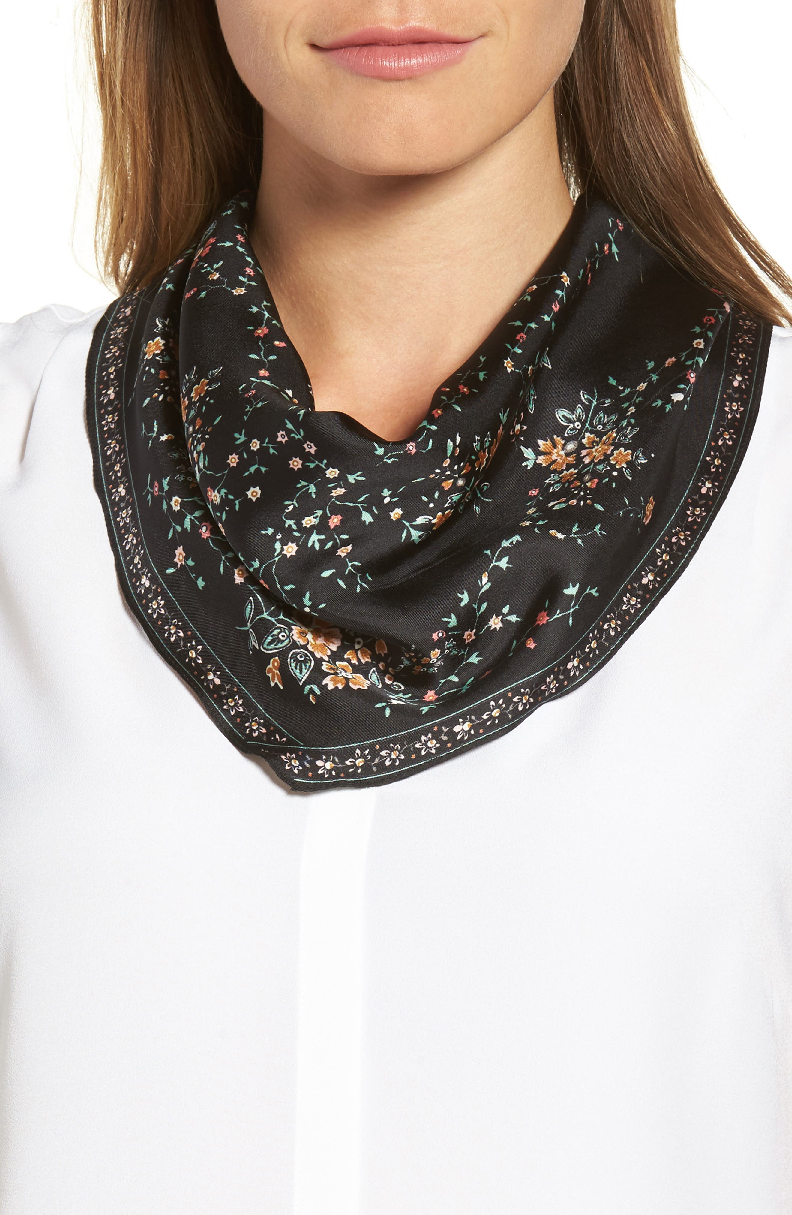 Echo Floral Lace Silk Diamond Scarf