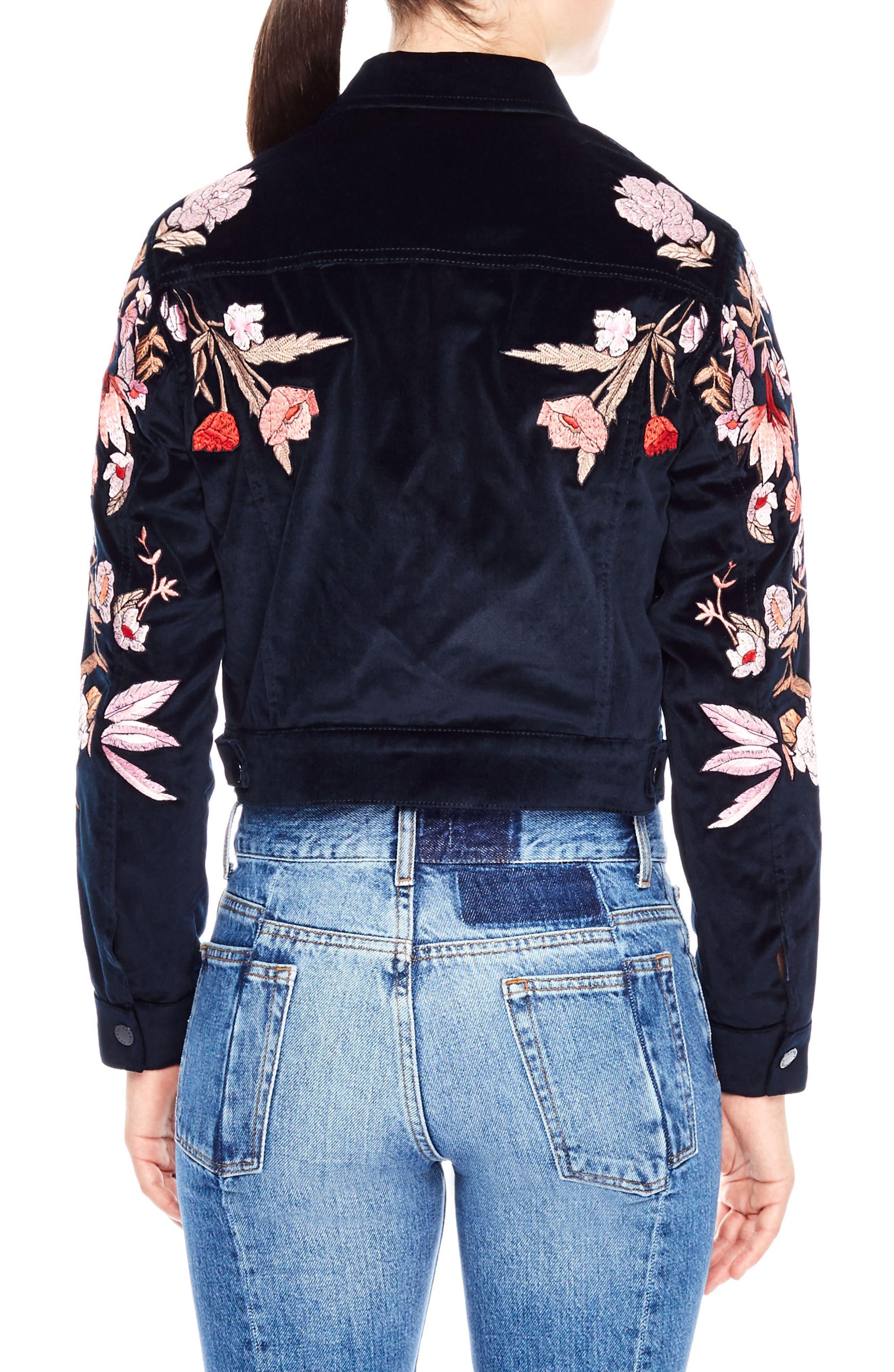 Alternate Image 2  - sandro Embroidered Crop Velvet Jacket