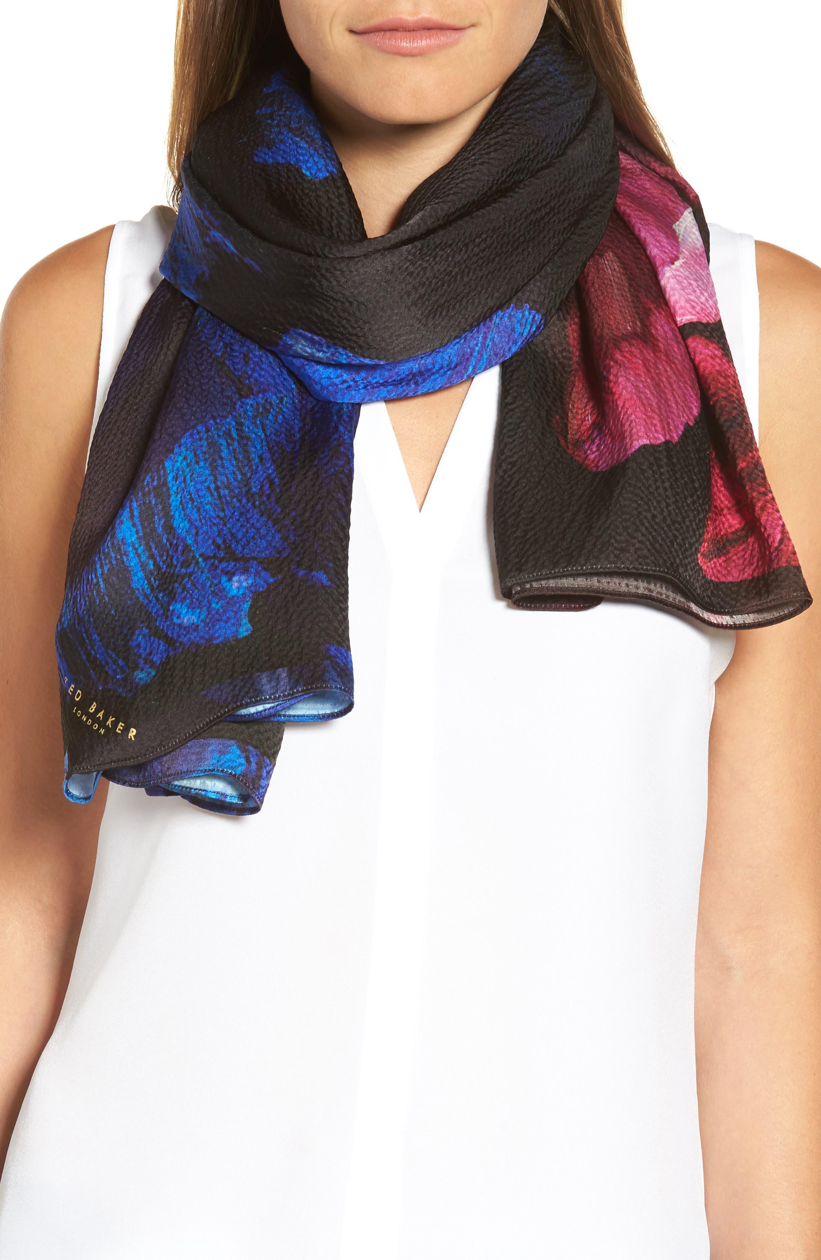 Impressionist Bloom Silk Cape Scarf,                             Alternate thumbnail 4, color,                             Black