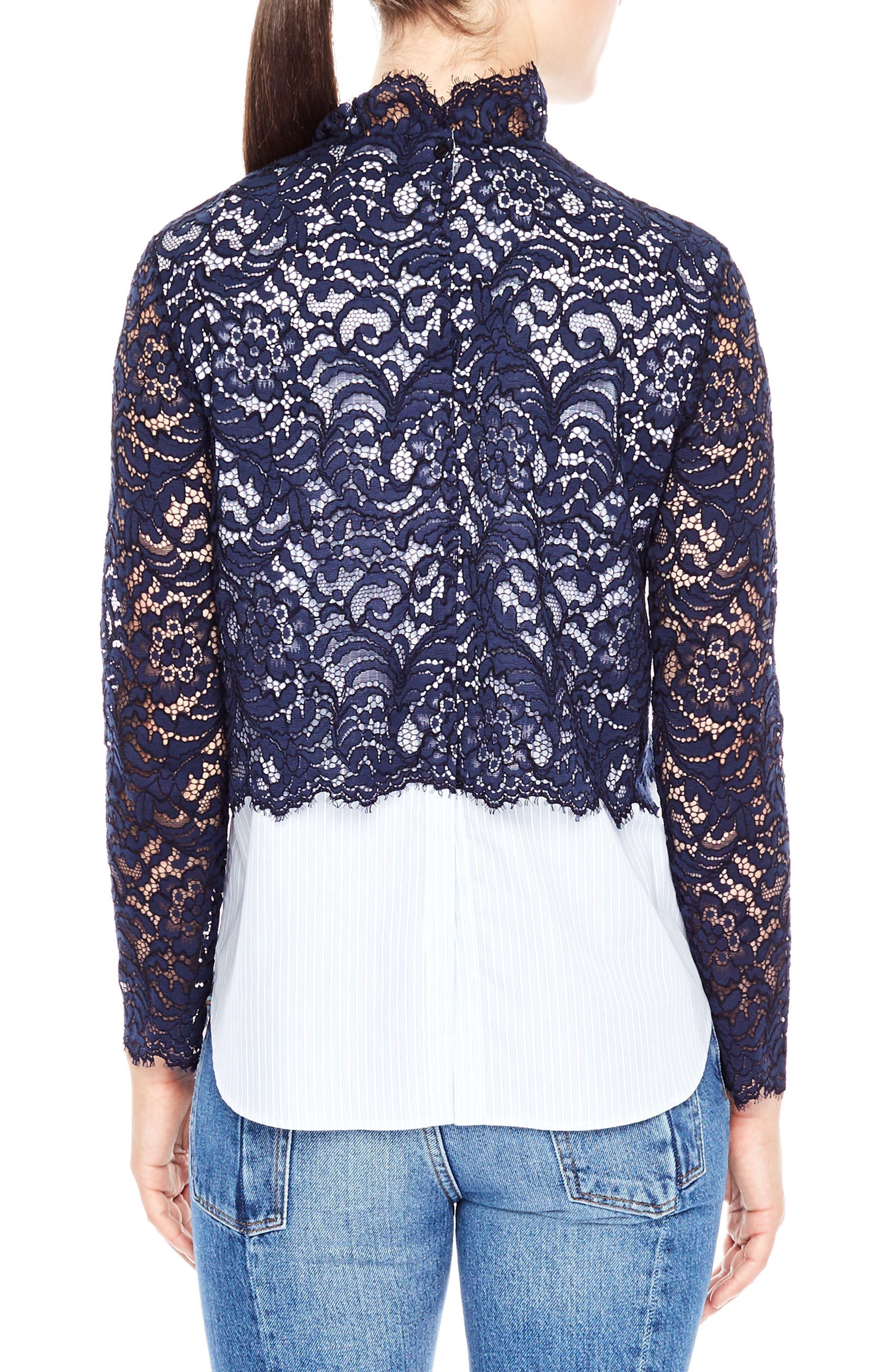 Alternate Image 2  - sandro Lace & Poplin Top