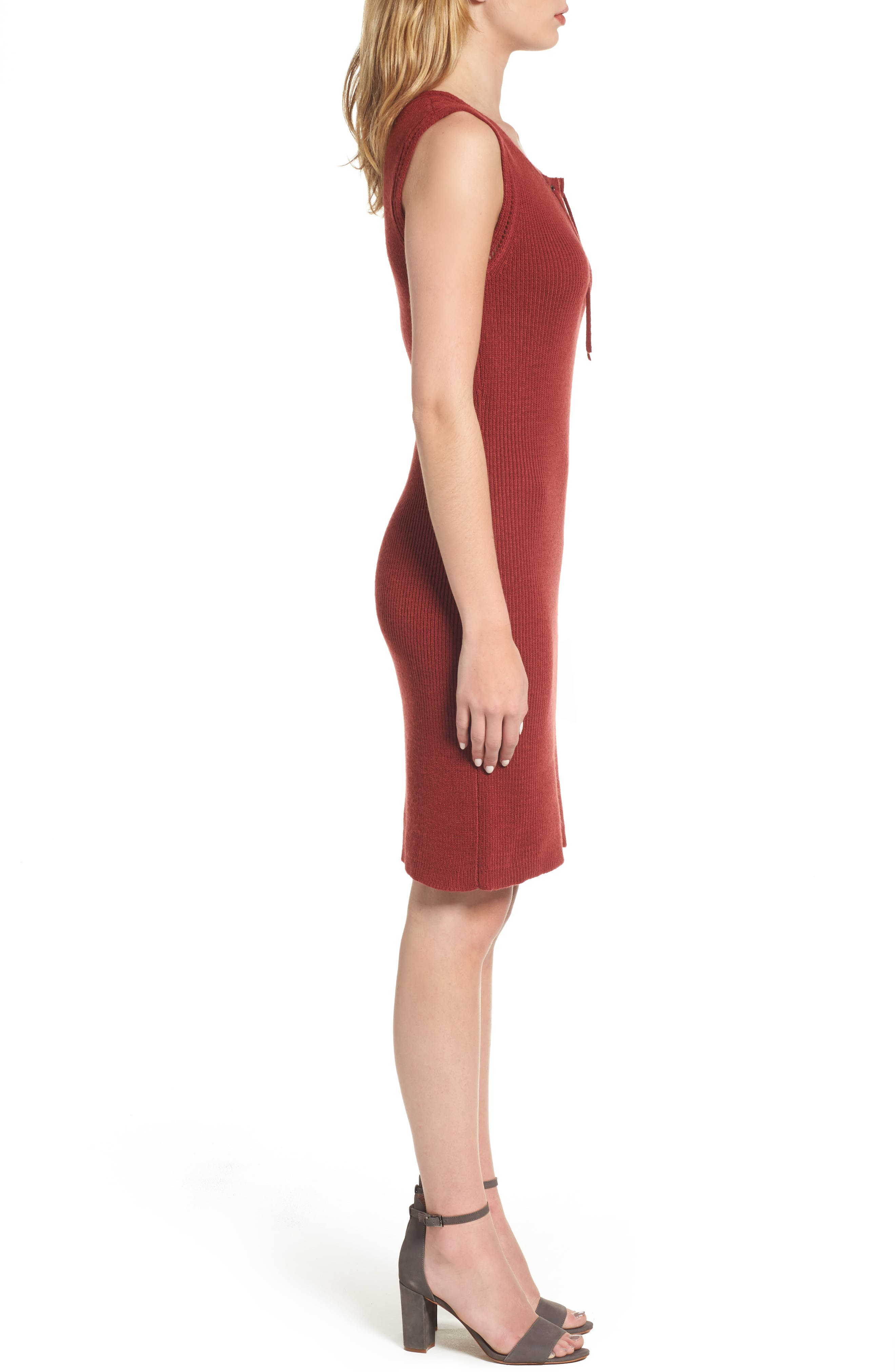 Thora Sheath Dress,                             Alternate thumbnail 3, color,                             Brick
