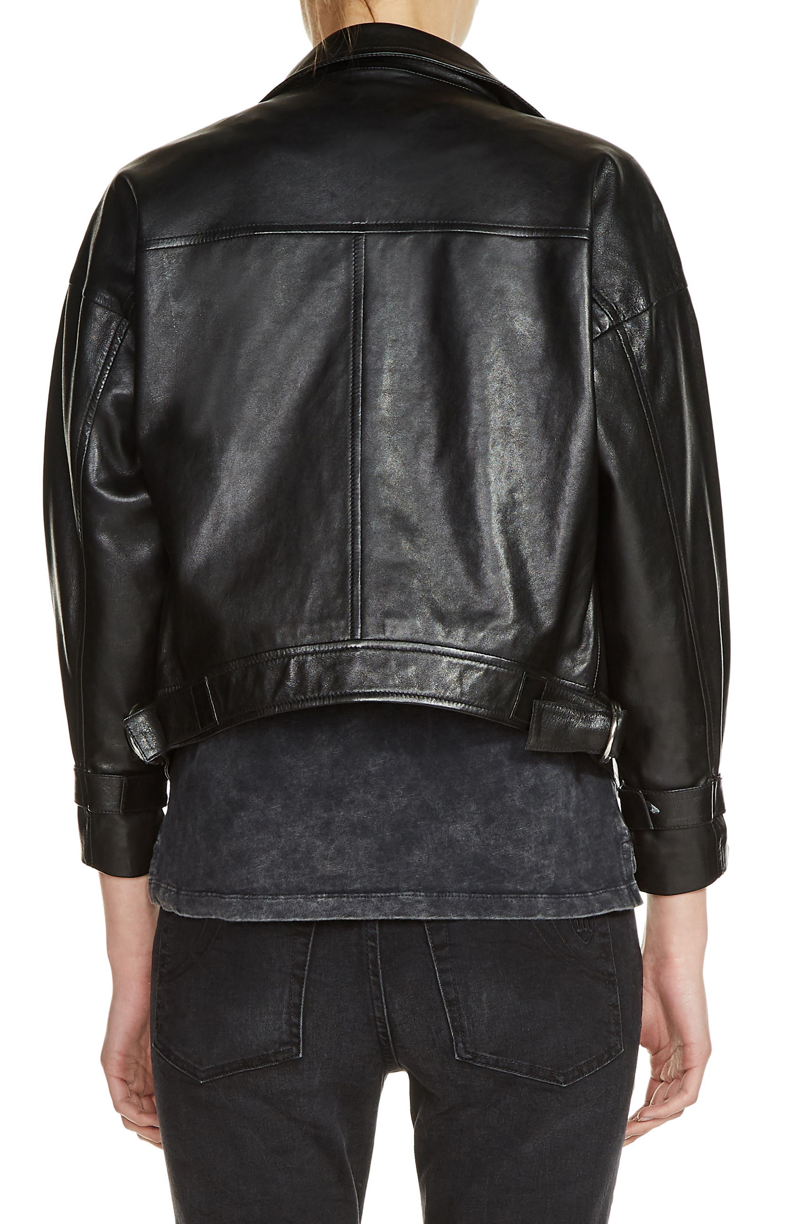 Loose Sleeve Leather Moto Jacket,                             Alternate thumbnail 2, color,                             Black