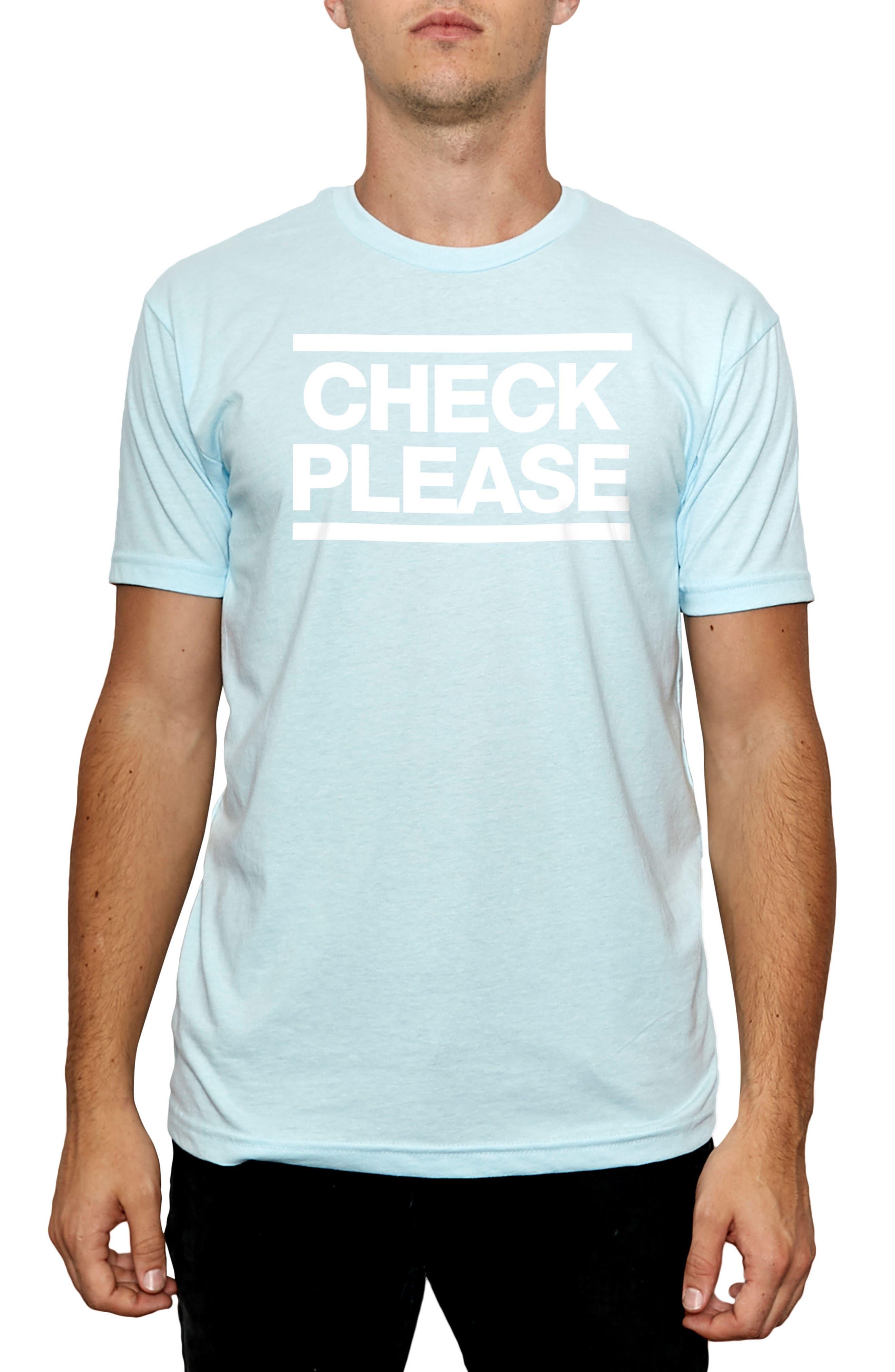 Check Please Graphic T-Shirt,                             Main thumbnail 1, color,                             Light Blue