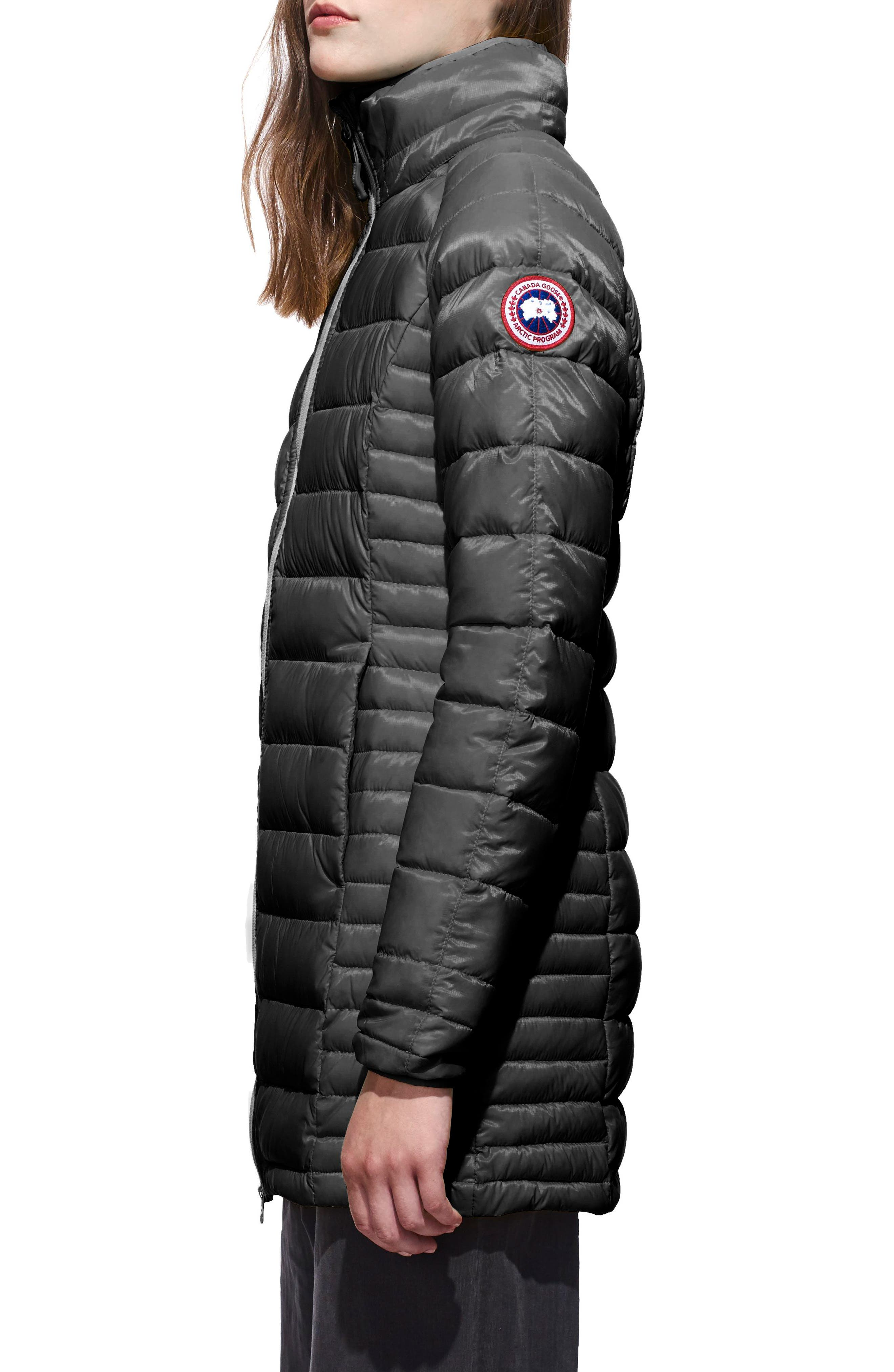 'Brookvale' Hooded Quilted Down Coat,                             Alternate thumbnail 3, color,                             Graphite/ Black