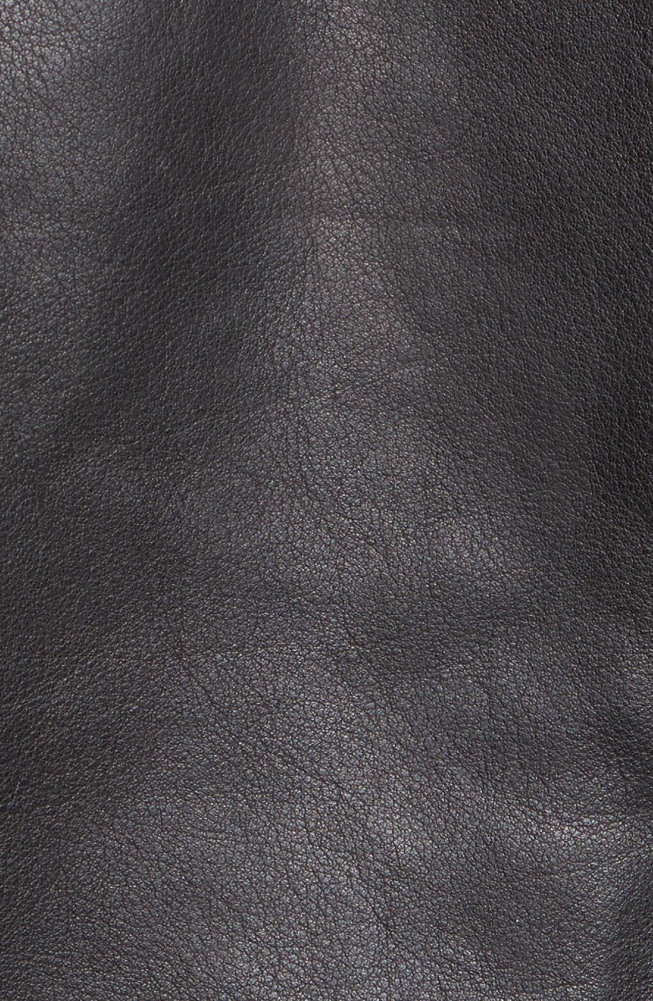 Wes Leather Moto Jacket,                             Alternate thumbnail 5, color,                             Black