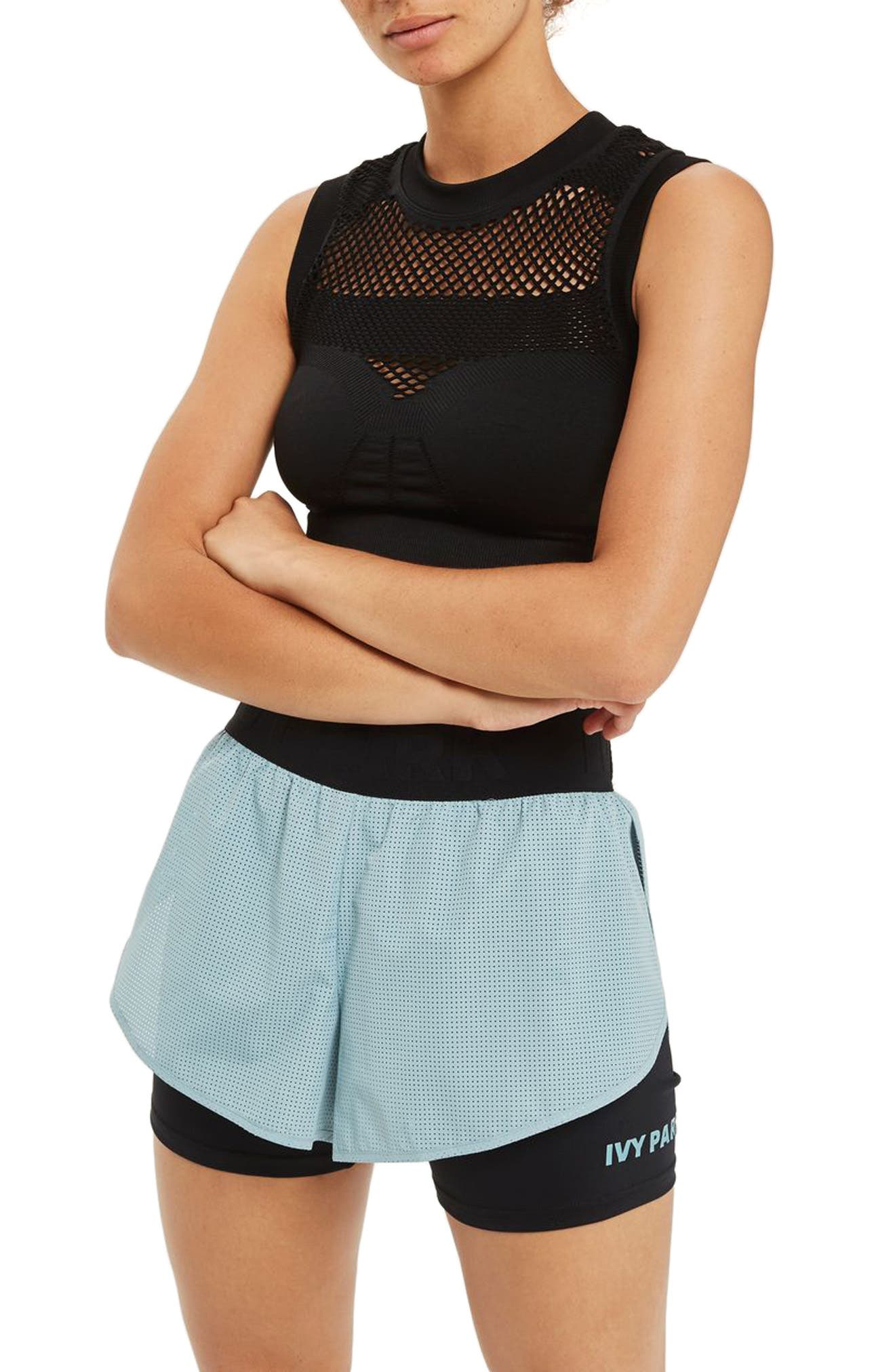 Perforated 2-in-1 Runner Shorts,                             Main thumbnail 1, color,                             Porcelain Blue