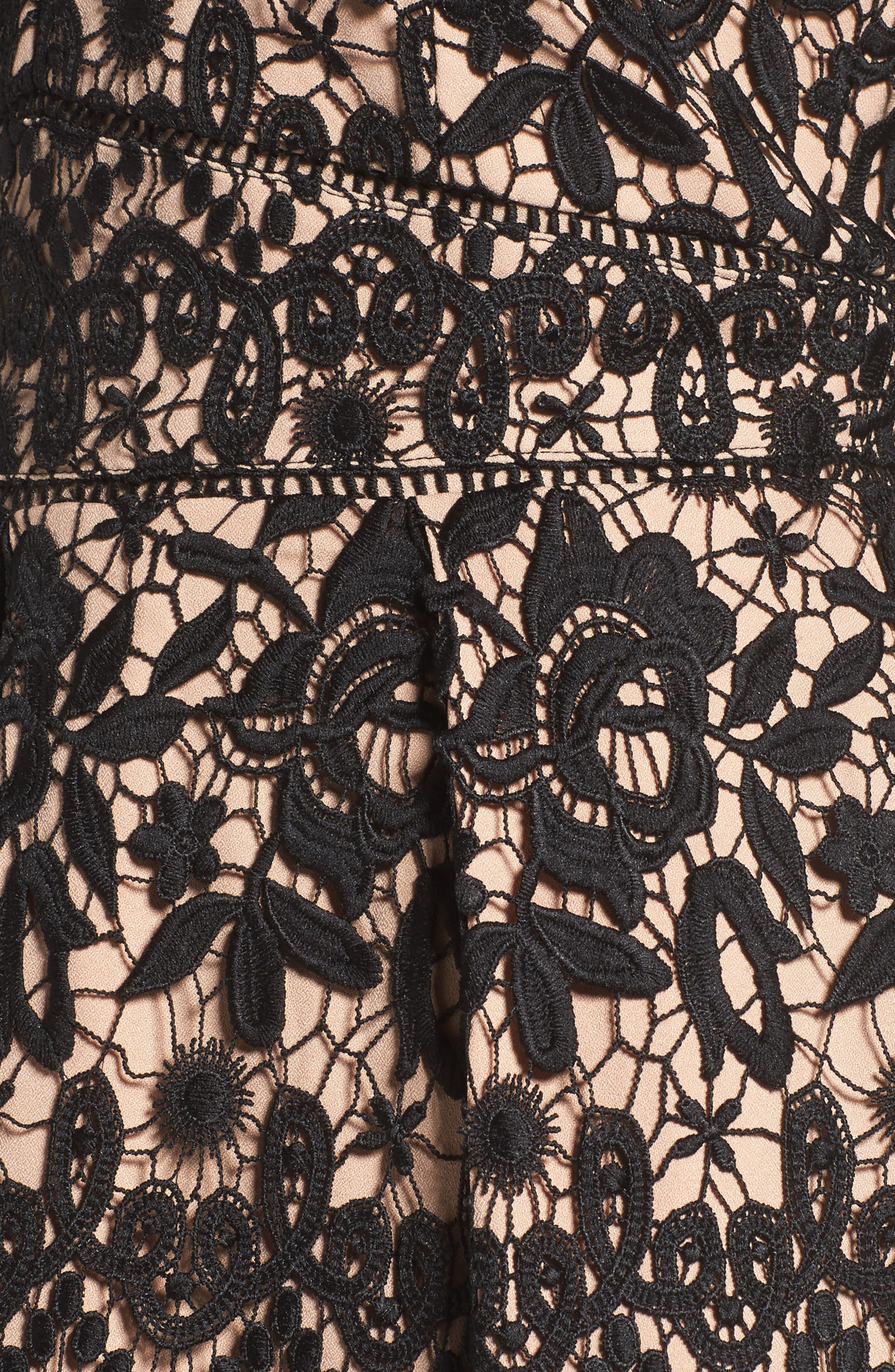 Krista Lace Fit & Flare Dress,                             Alternate thumbnail 5, color,                             Black/ Nude