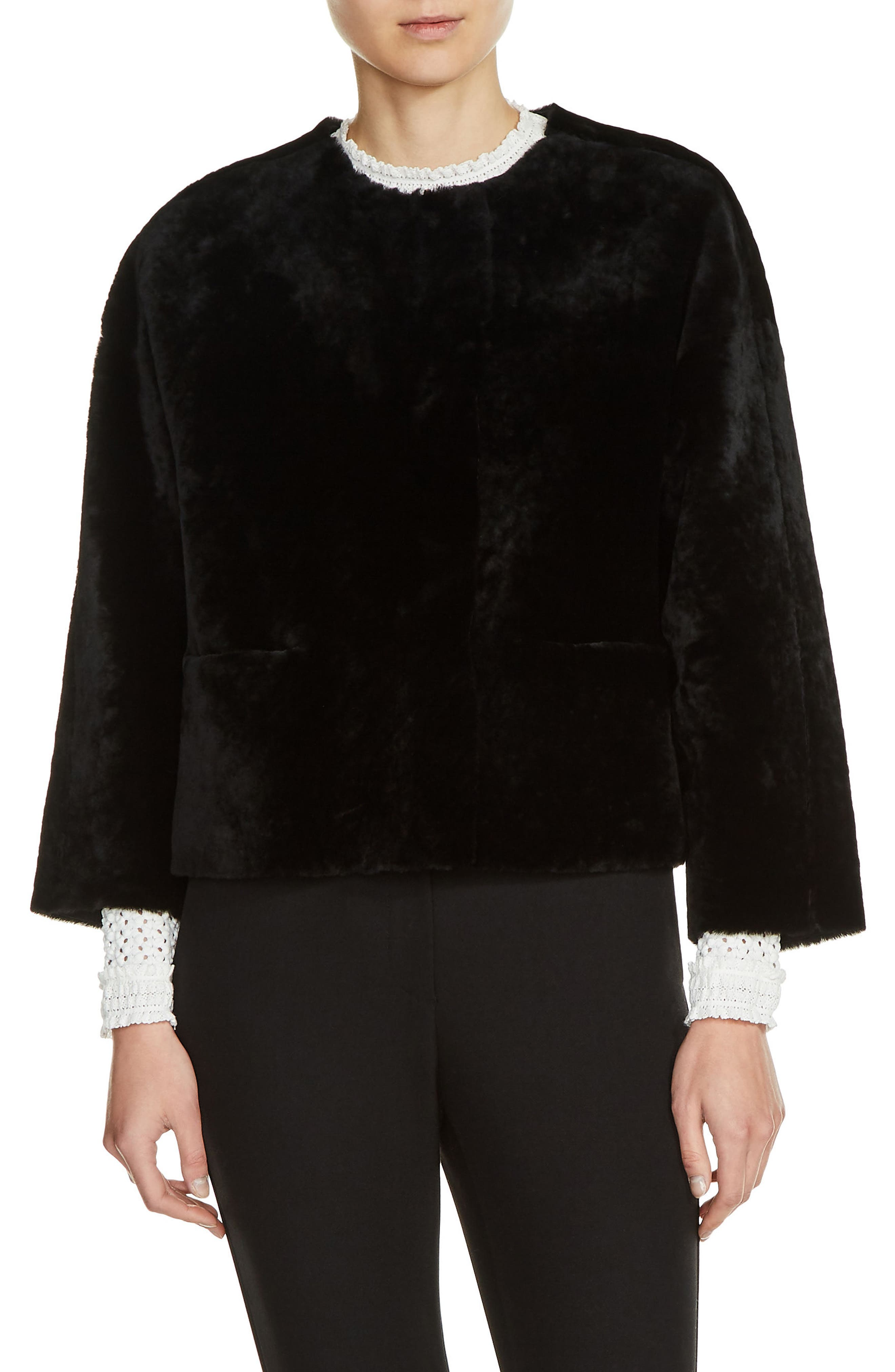 Main Image - maje Reversible Genuine Shearling & Leather Jacket