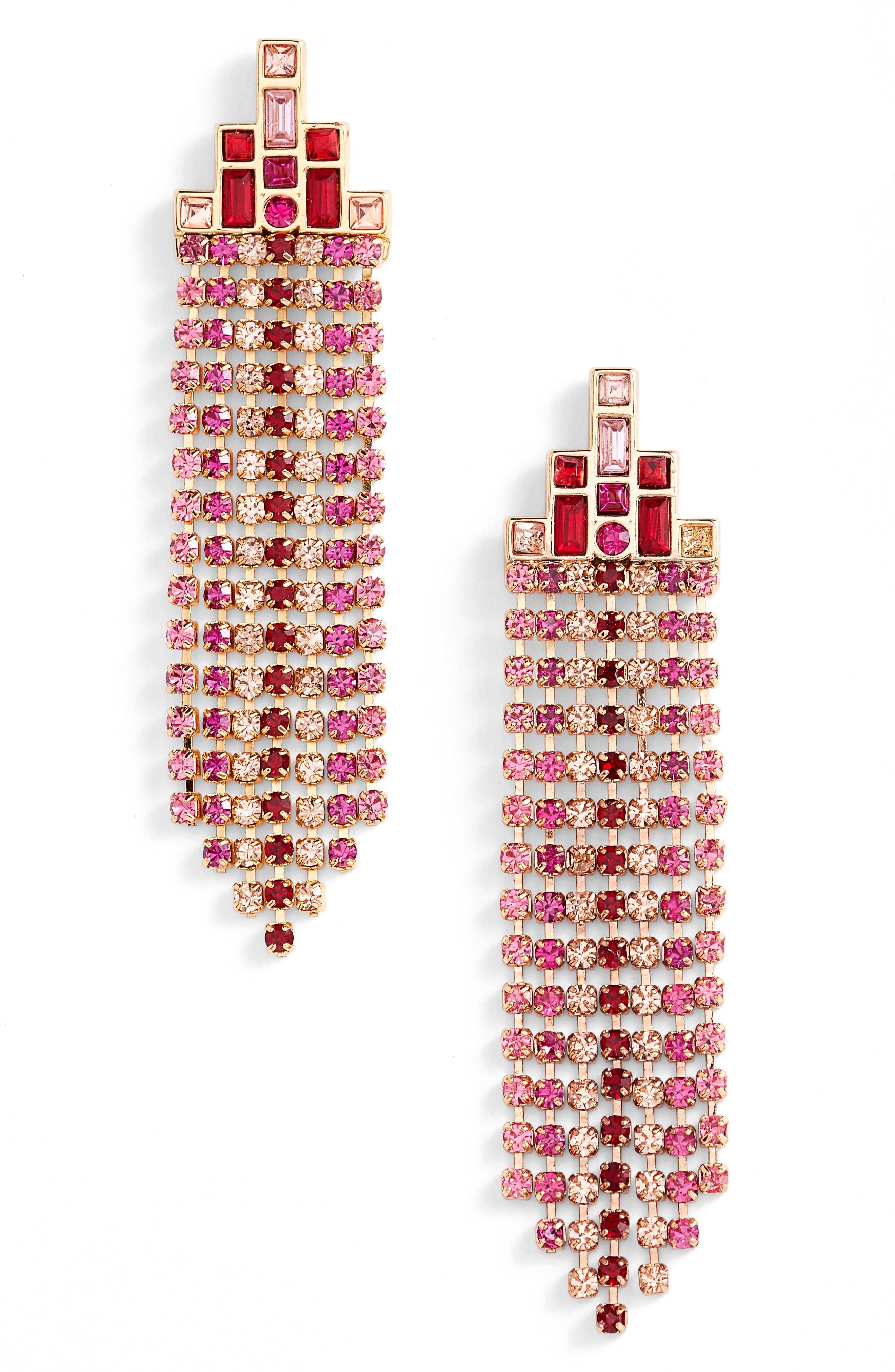 Rebecca Minkoff Crystal Fringe Drop Earrings