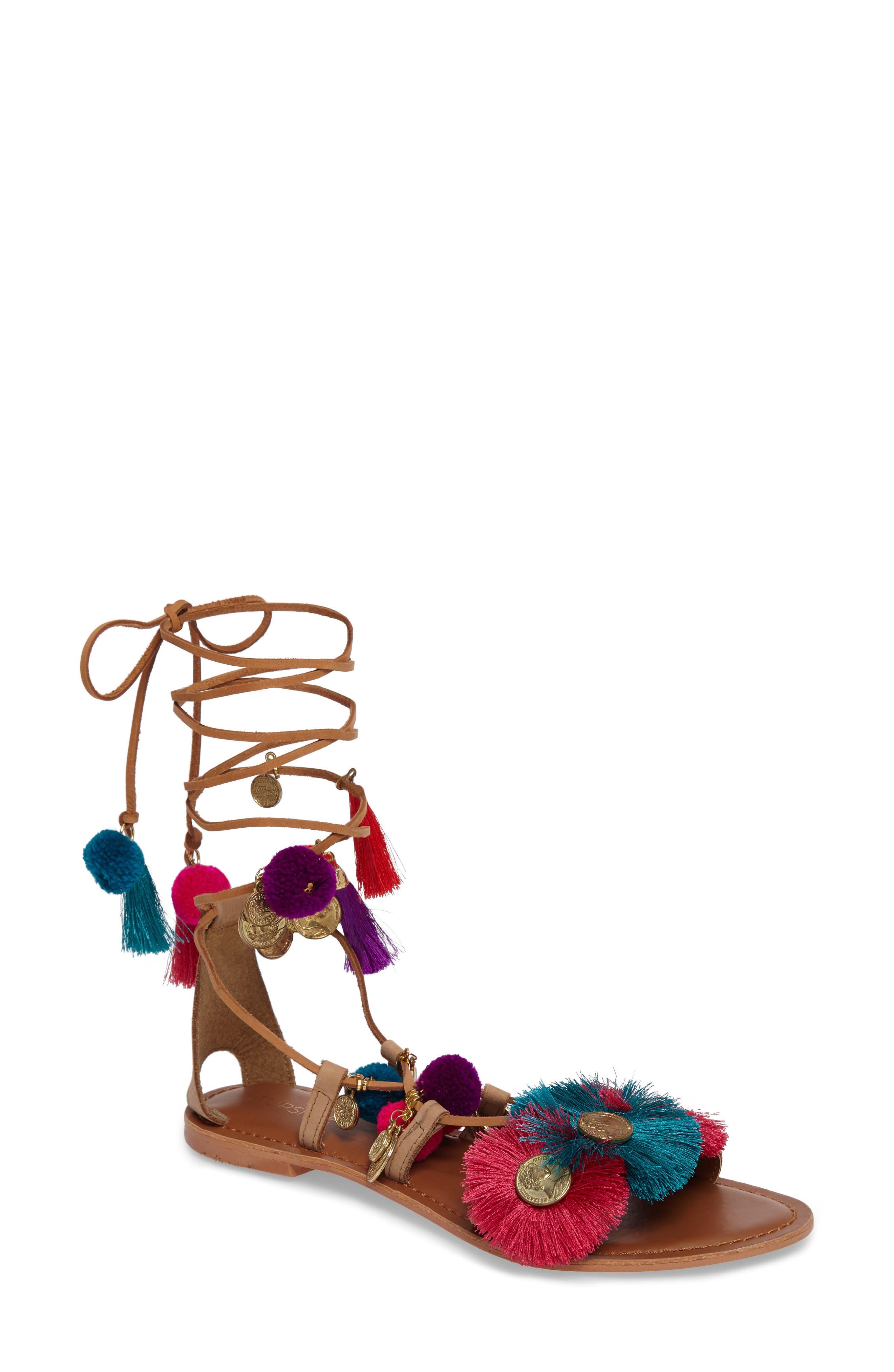 Topshop Honey Embellished Lace-Up Sandal (Women)