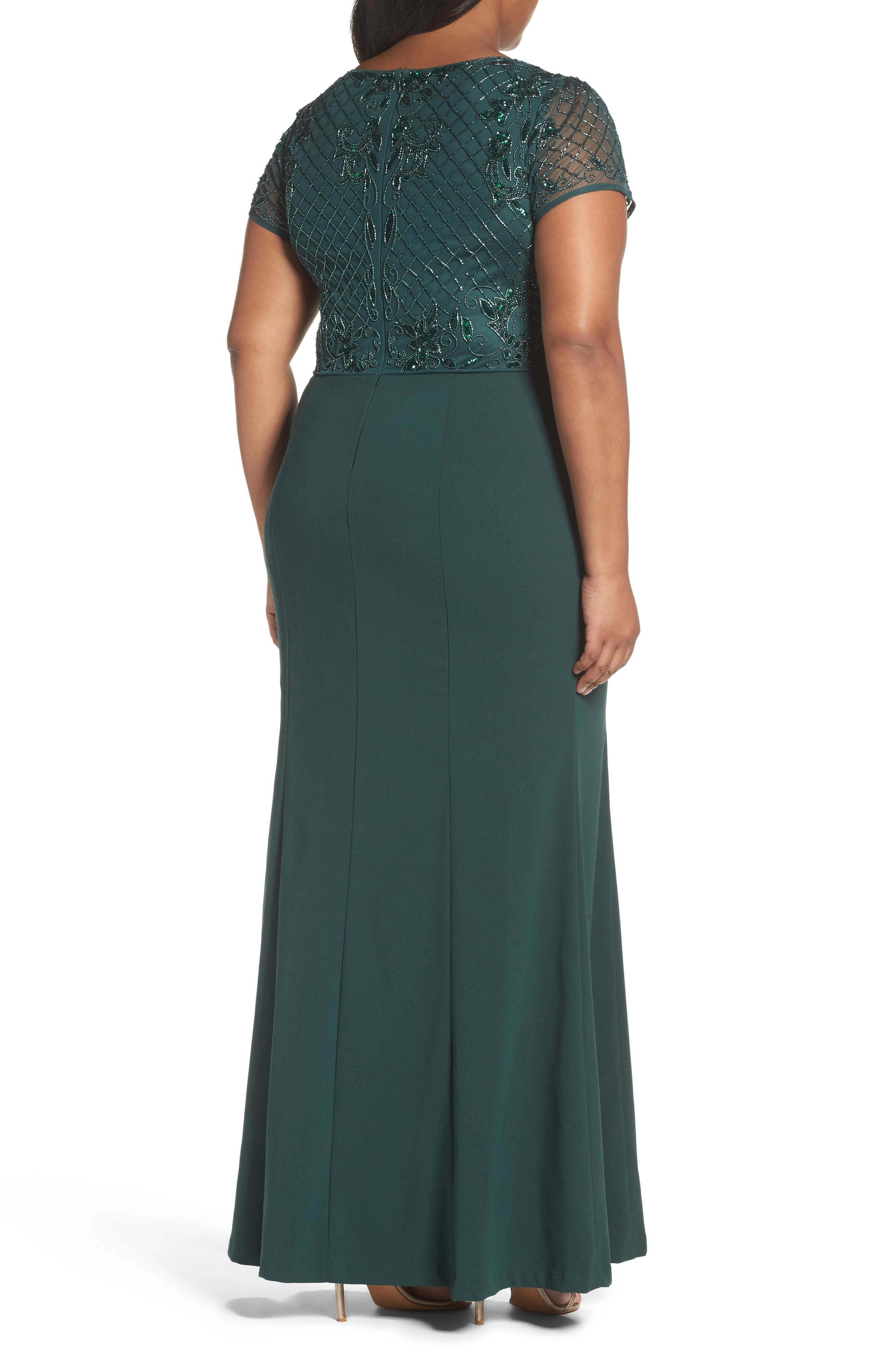 Alternate Image 2  - Adrianna Papell Beaded Crepe Gown (Plus Size)