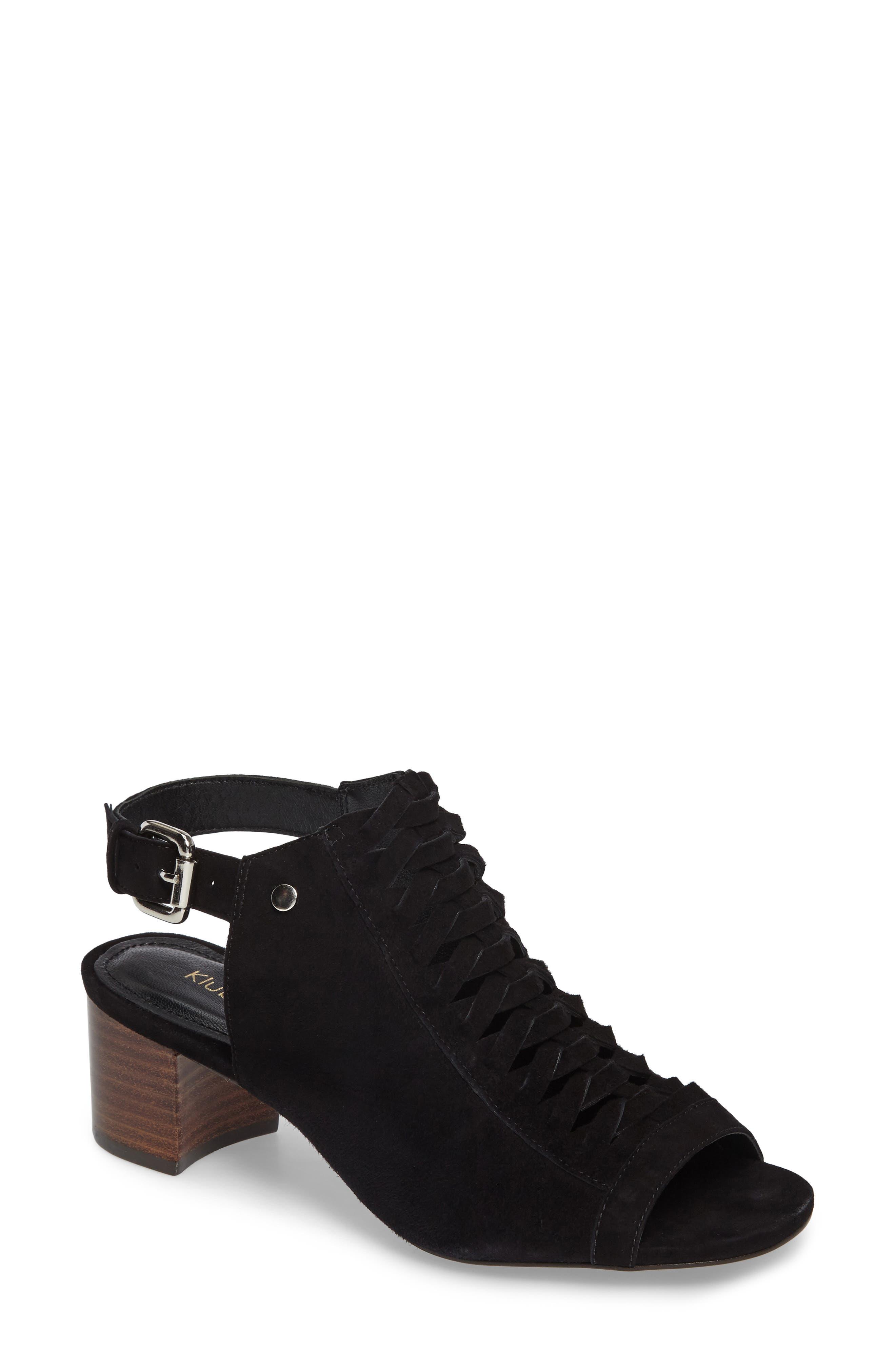 Dallas Woven Sandal,                             Main thumbnail 1, color,                             Black Suede