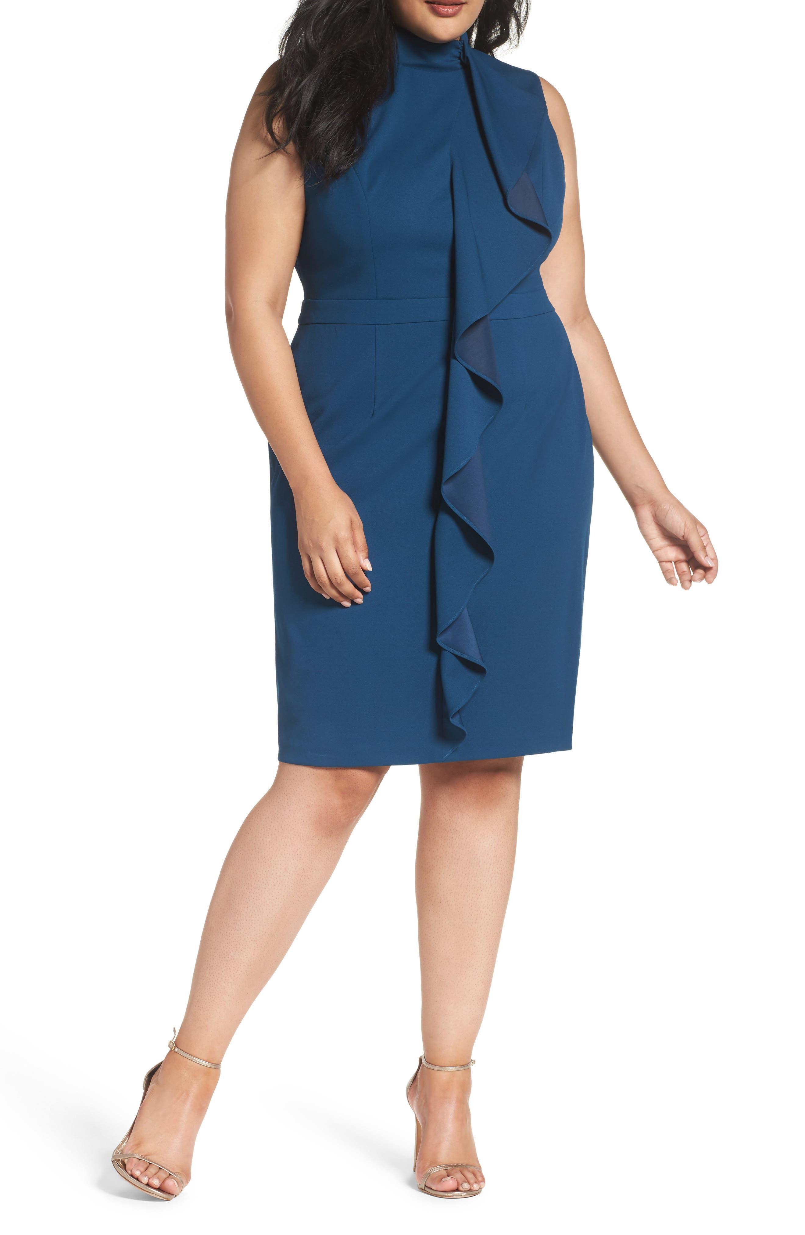 ADRIANNA PAPELL Ruffle Front Knit Crepe Sheath Dress