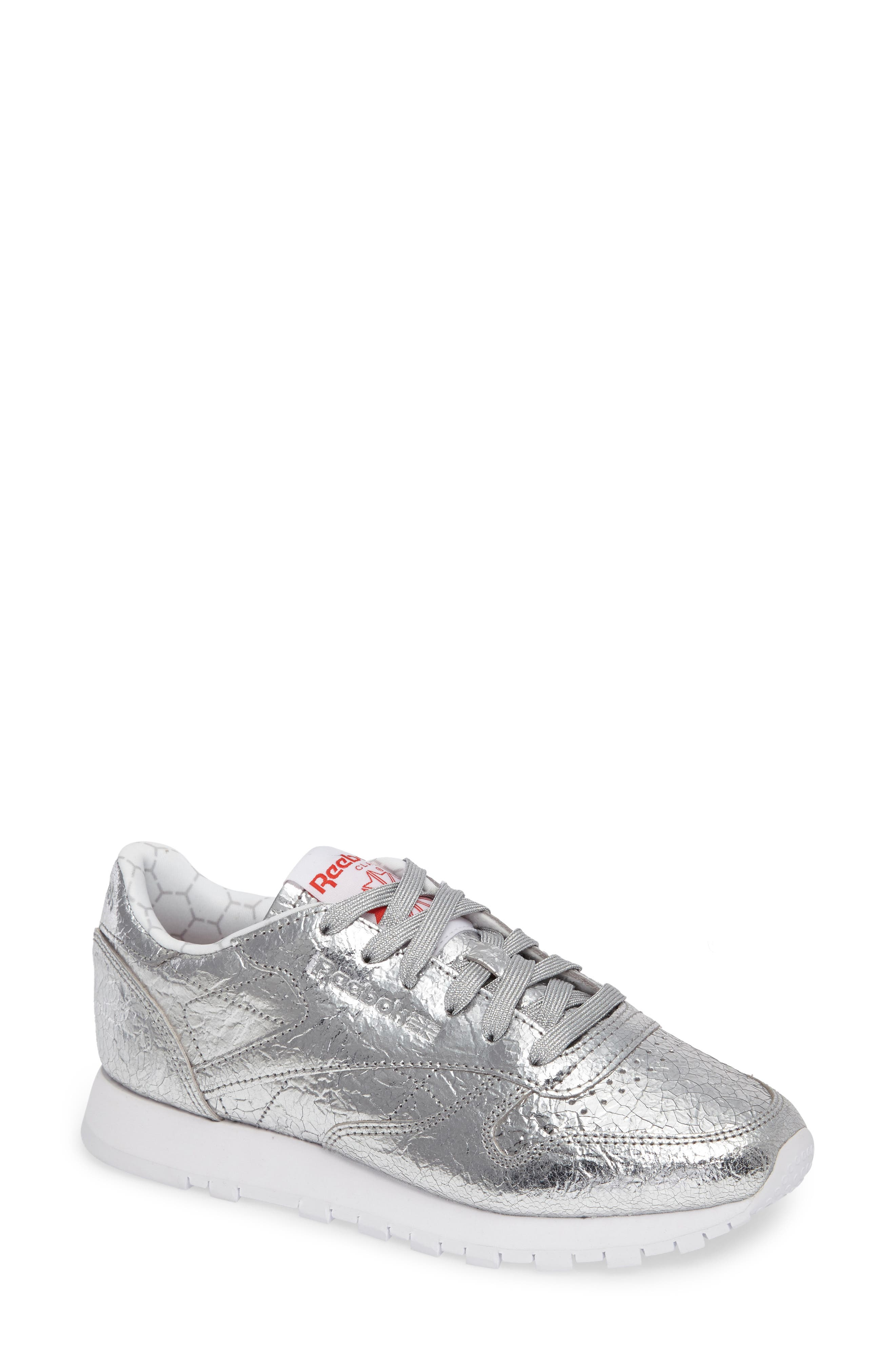 Classic Leather HD Foil Sneaker,                             Main thumbnail 1, color,                             Silver/ Grey/ Red/ White