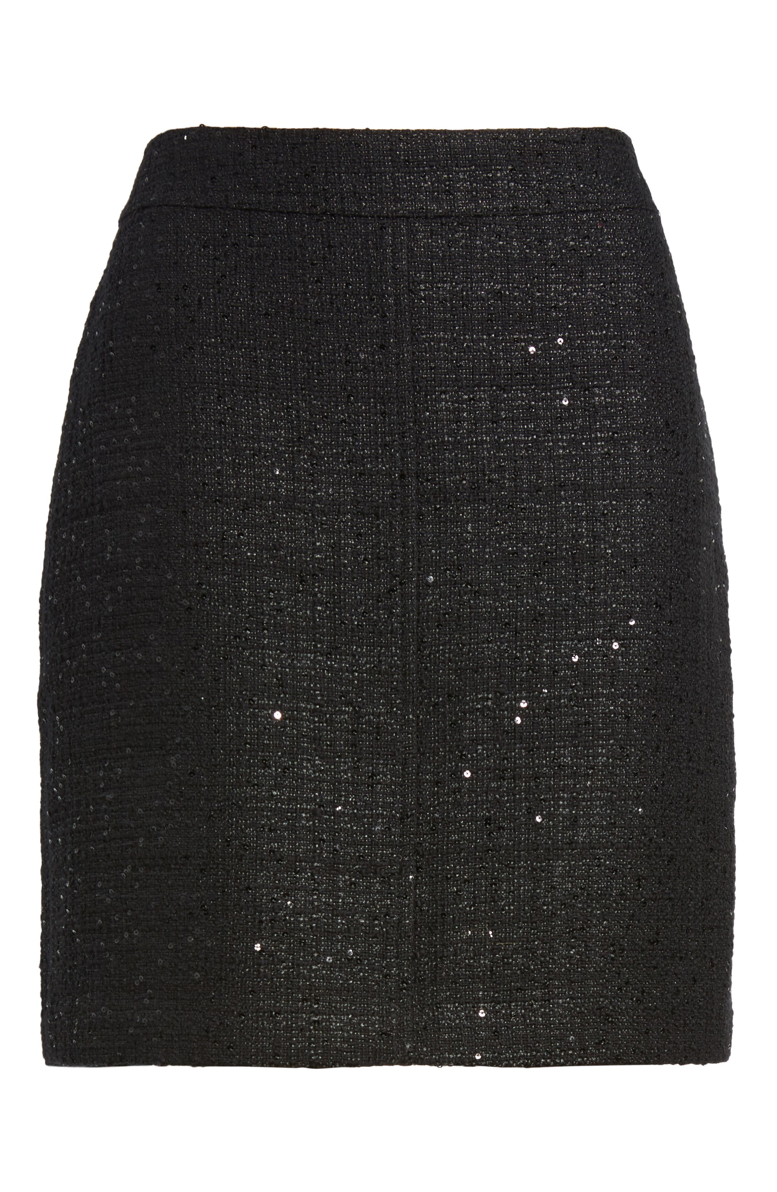 Sequin Tweed Skirt,                             Alternate thumbnail 6, color,                             Black/ Black