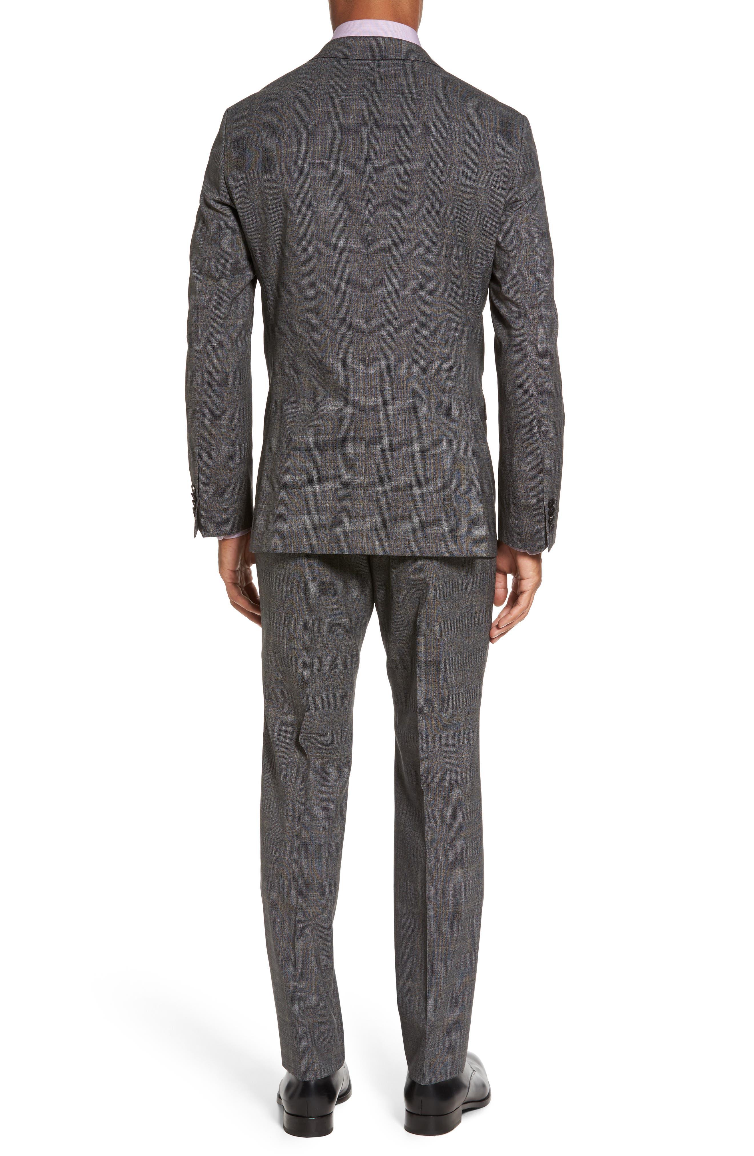 Novan/Ben Trim Fit Plaid Wool Suit,                             Alternate thumbnail 2, color,                             Black