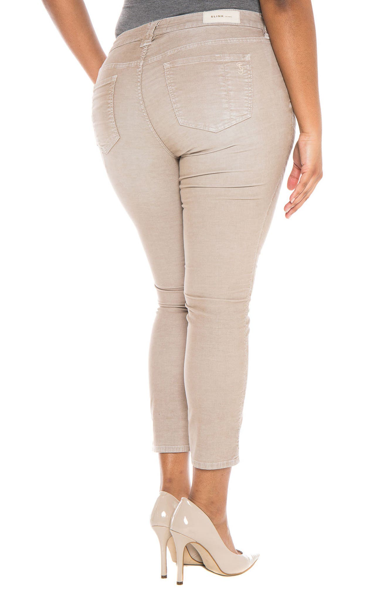 Alternate Image 2  - SLINK Jeans Stretch Corduroy Cropped Skinny Pants (Plus Size)