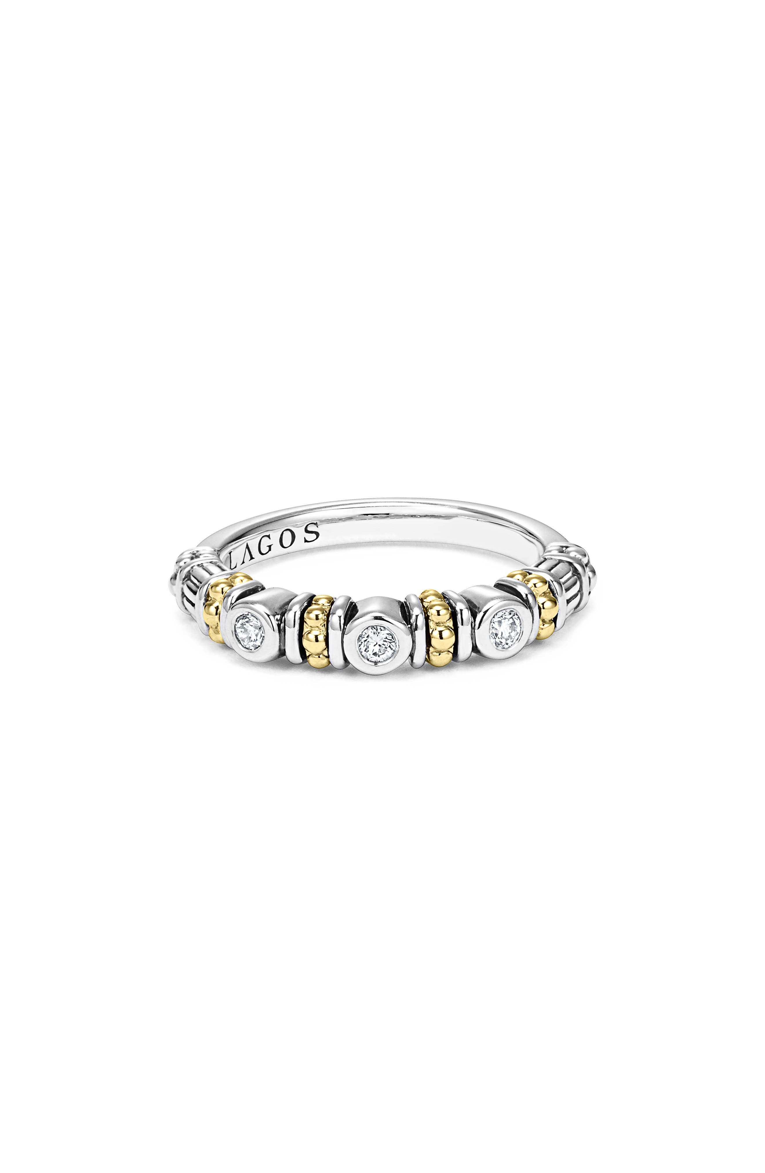 Three Diamond Stacking Ring,                             Alternate thumbnail 2, color,                             Silver/ Gold