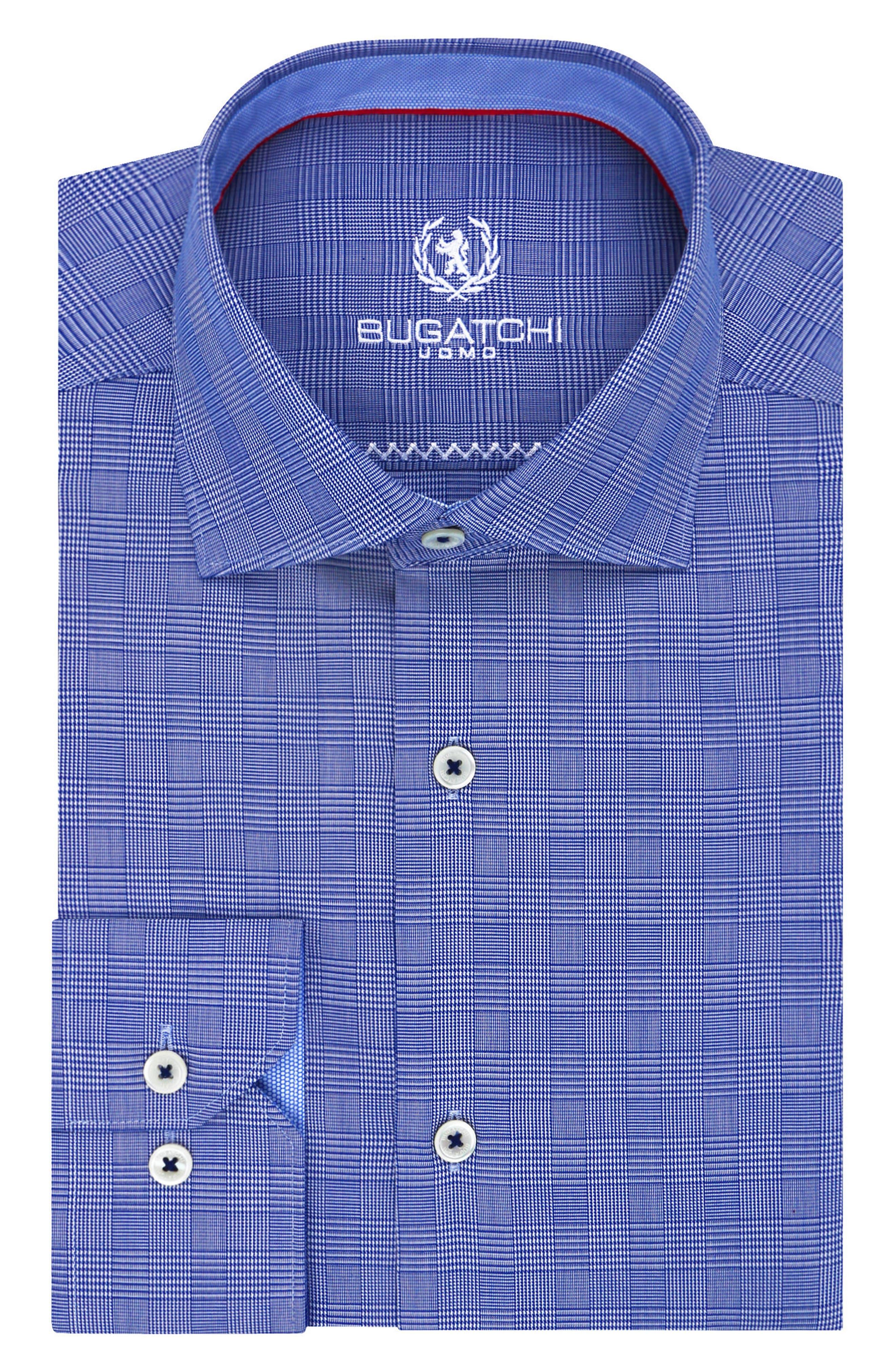 Main Image - Bugatchi Trim Fit Plaid Dress Shirt