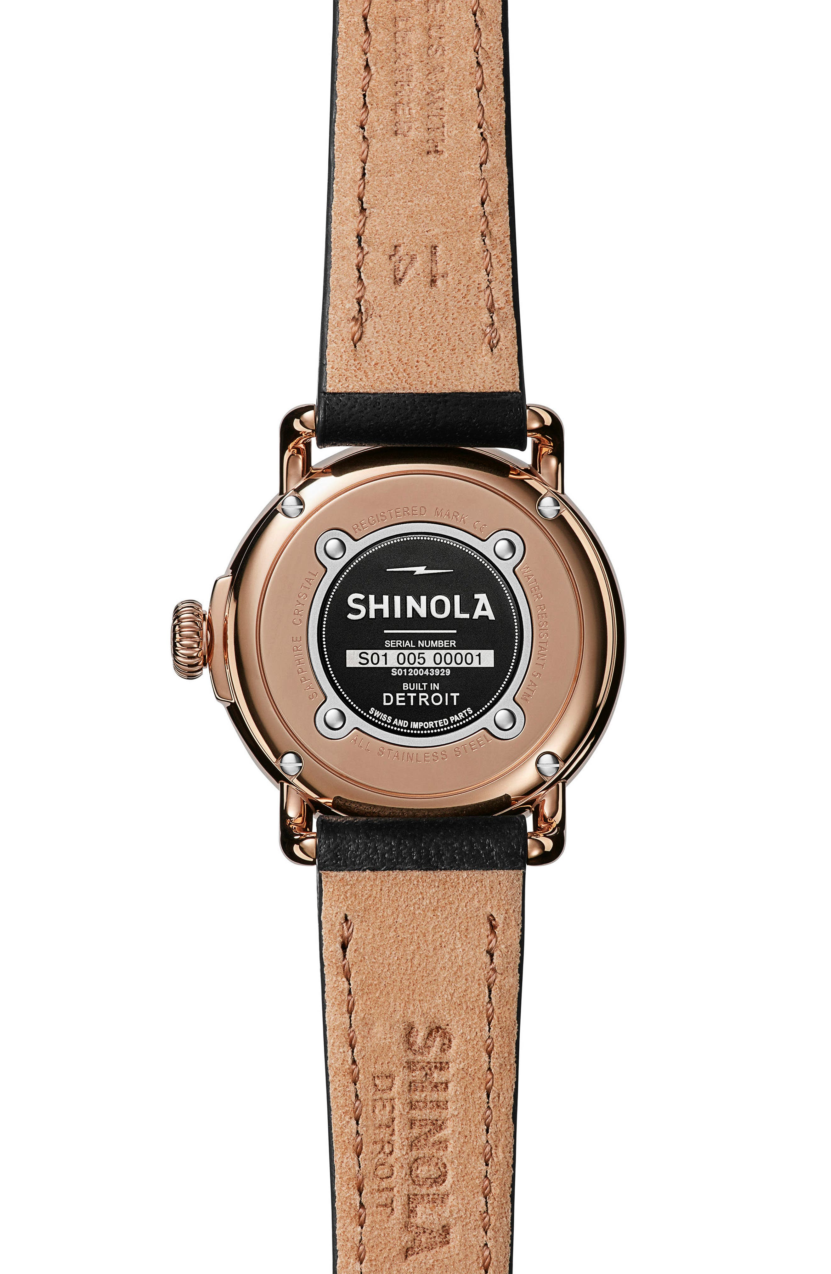 The Runwell Leather Strap Watch, 28mm,                             Alternate thumbnail 2, color,                             Black/ White Mop/ Rose Gold