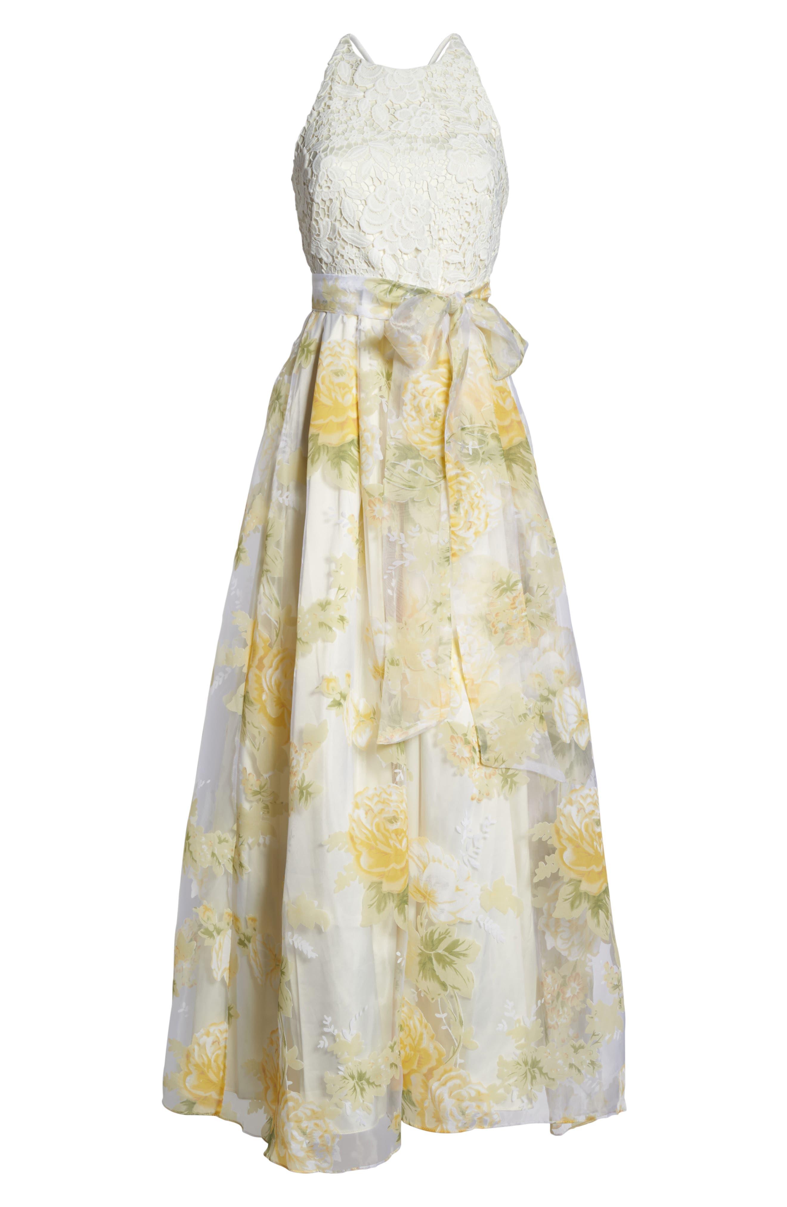 Alternate Image 6  - Eliza J Crochet & Floral Organza Halter Gown