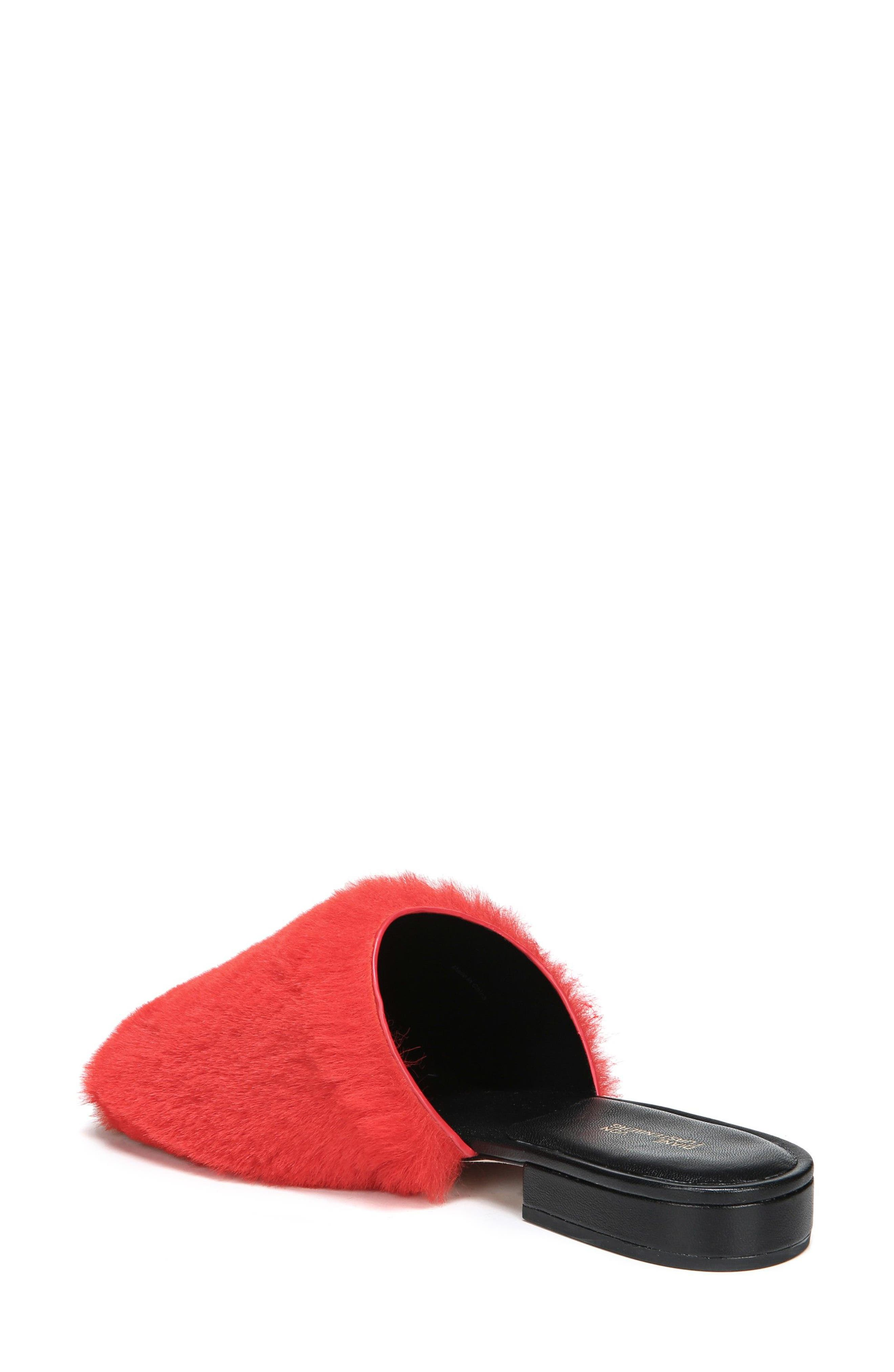 Santi Genuine Shearling Slide Sandal,                             Alternate thumbnail 2, color,                             Red