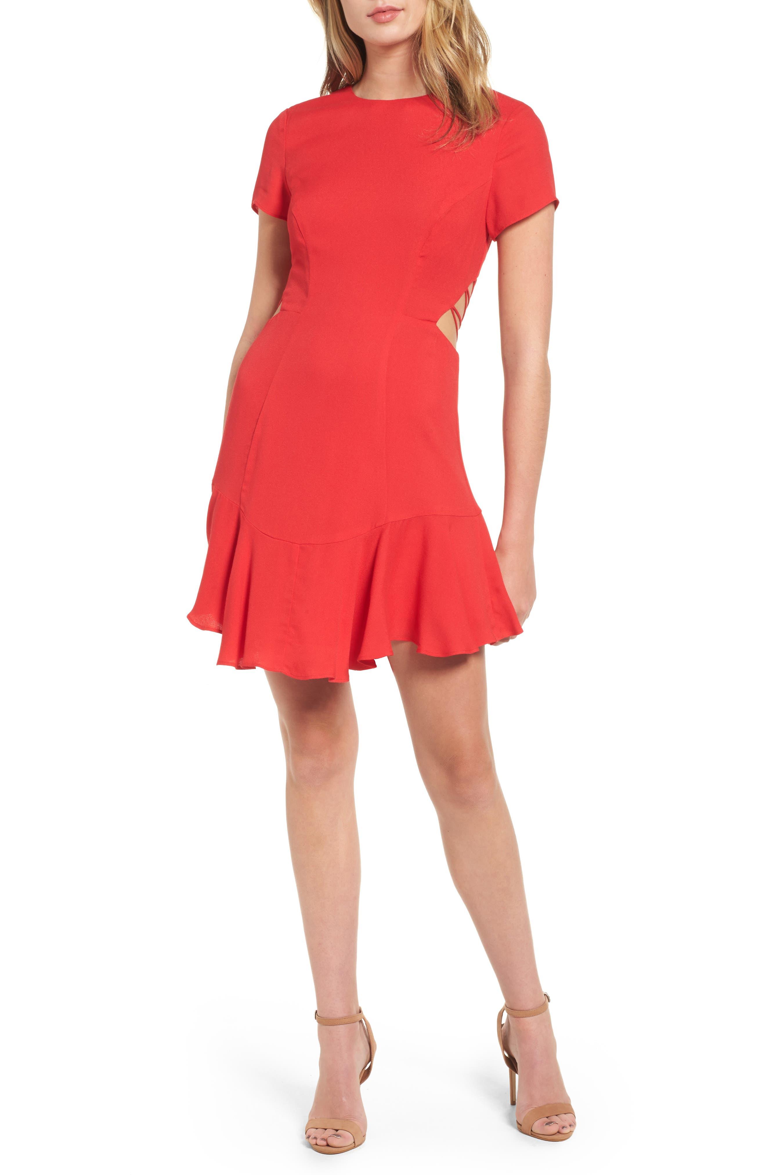 Chelsea Lattice Back Fit & Flare Dress,                             Alternate thumbnail 2, color,                             Red