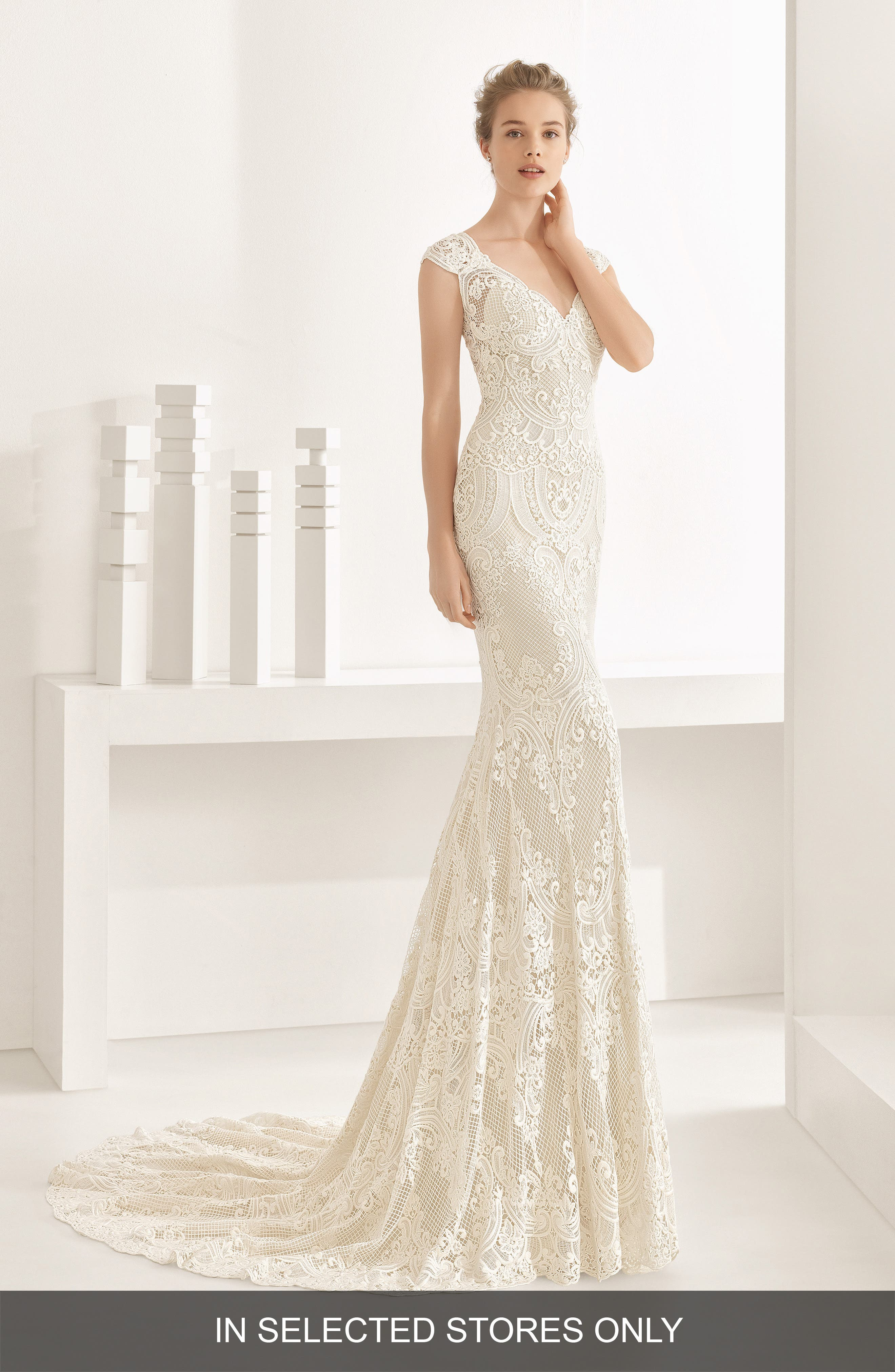 Natalia Guipure Lace Mermaid Gown,                             Main thumbnail 1, color,                             Ivory